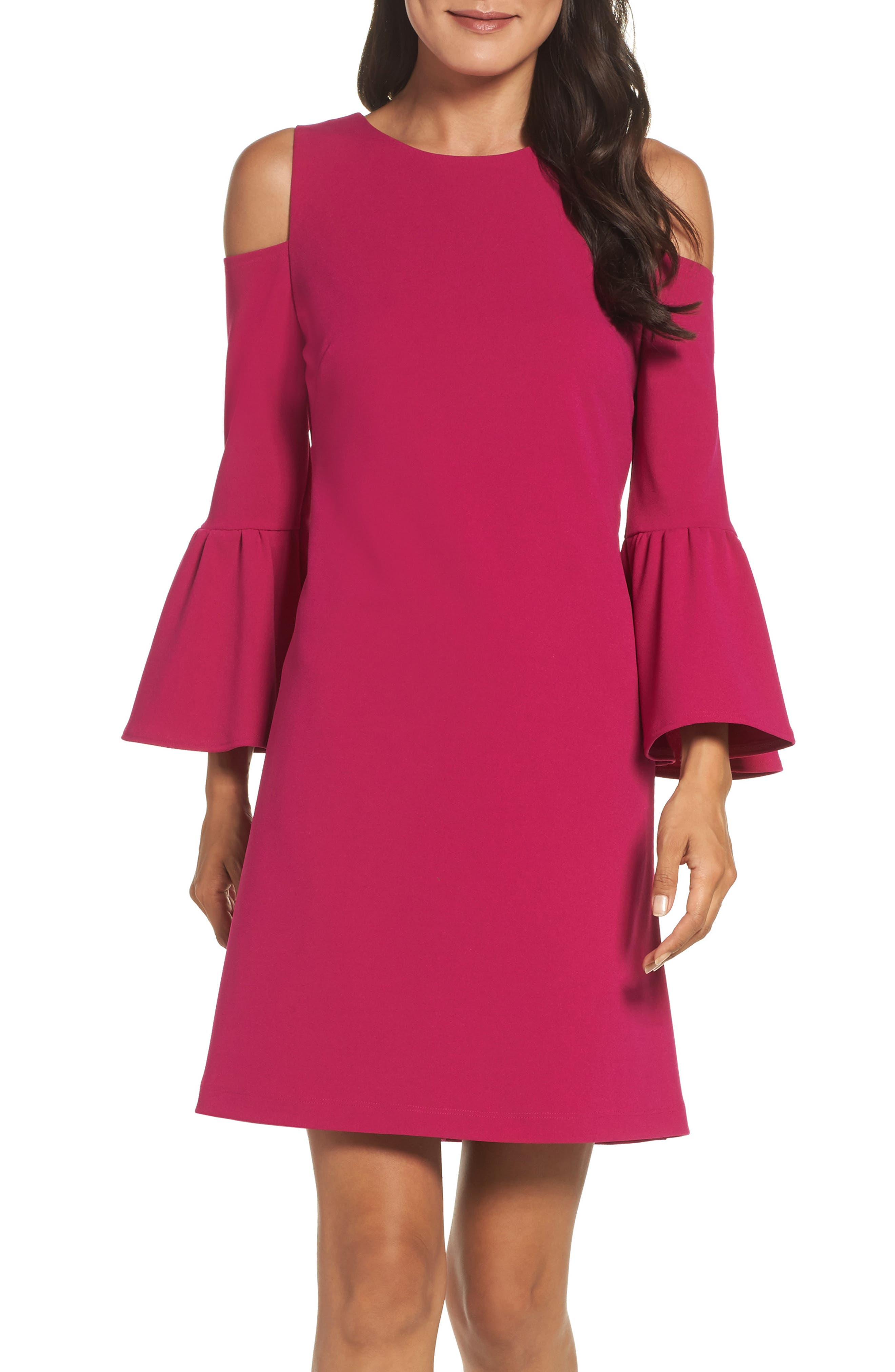 Eliza J Cold Shoulder Crepe Dress (Regular & Petite)