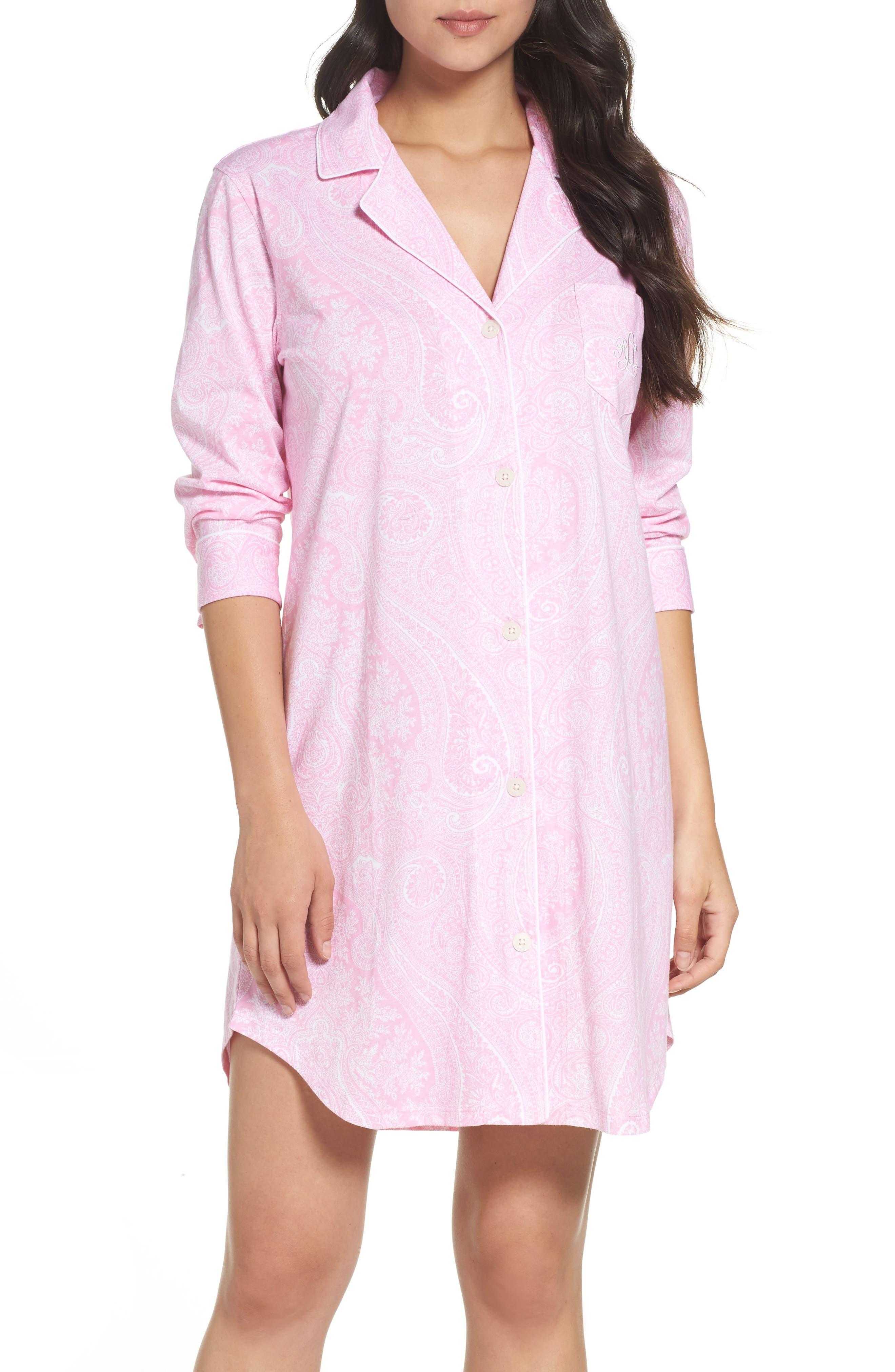 Alternate Image 1 Selected - Lauren Ralph Lauren Jersey Sleep Shirt (Online Only)