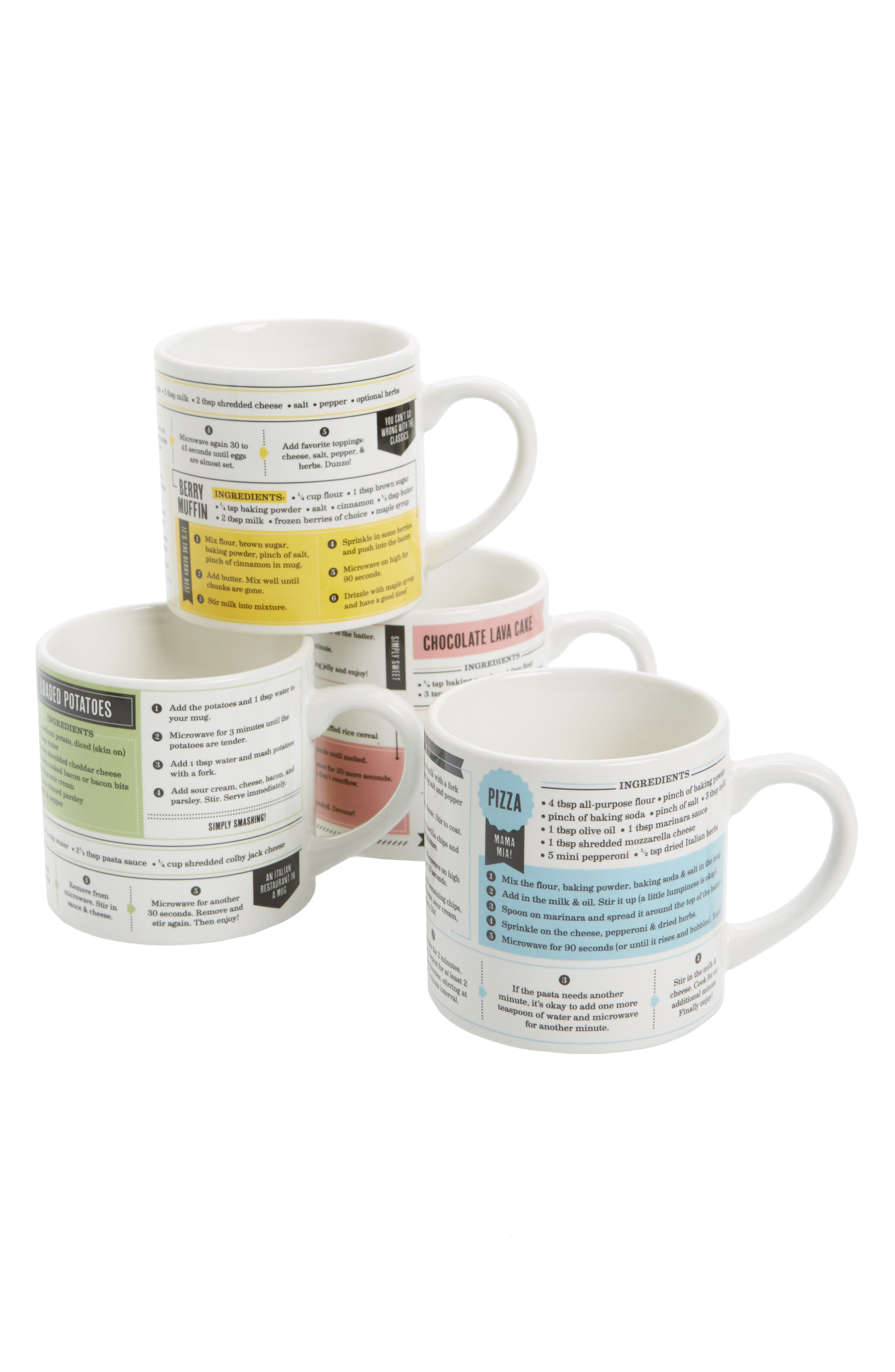 Fred & Friends Grub Mugs Set of 4 Recipe Mugs
