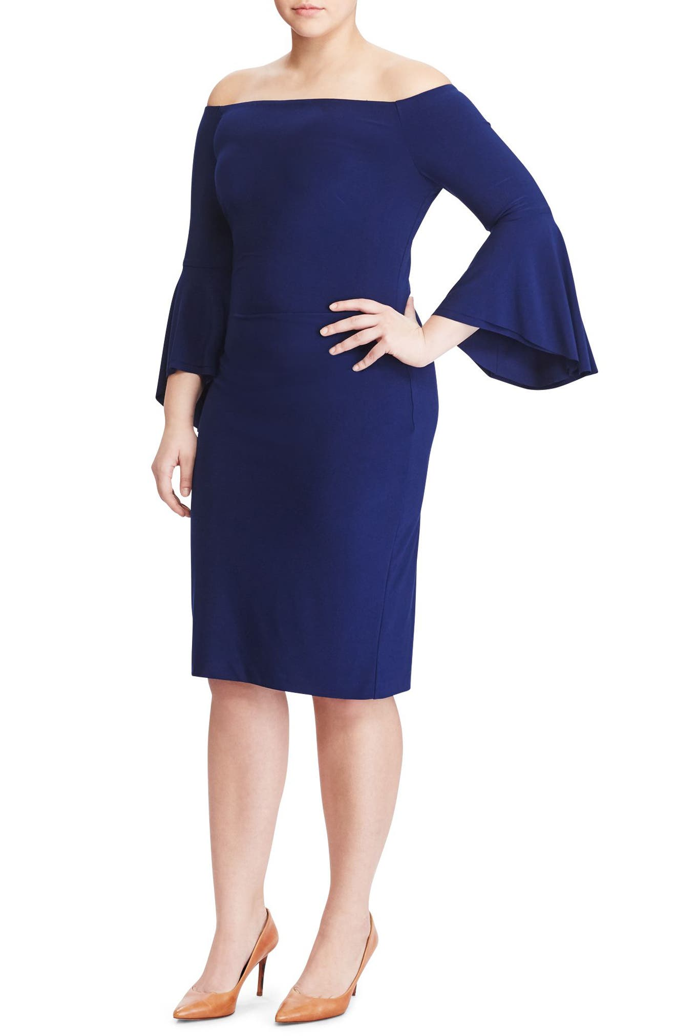 Lauren Ralph Lauren Off the Shoulder Jersey Dress (Plus Size)