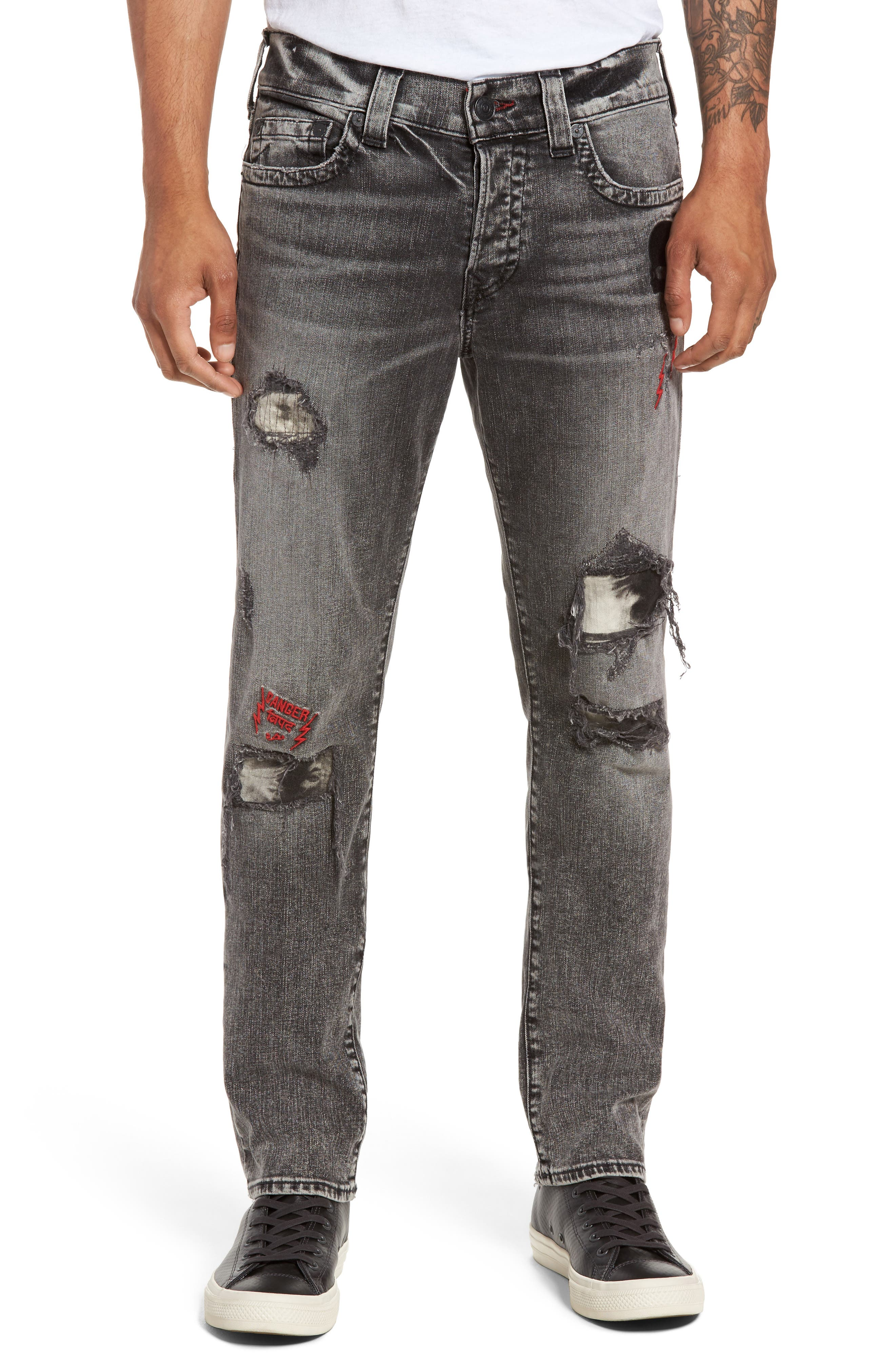 True Religion Brand Jeans Rocco Skinny Fit Jeans (Stone Relic)