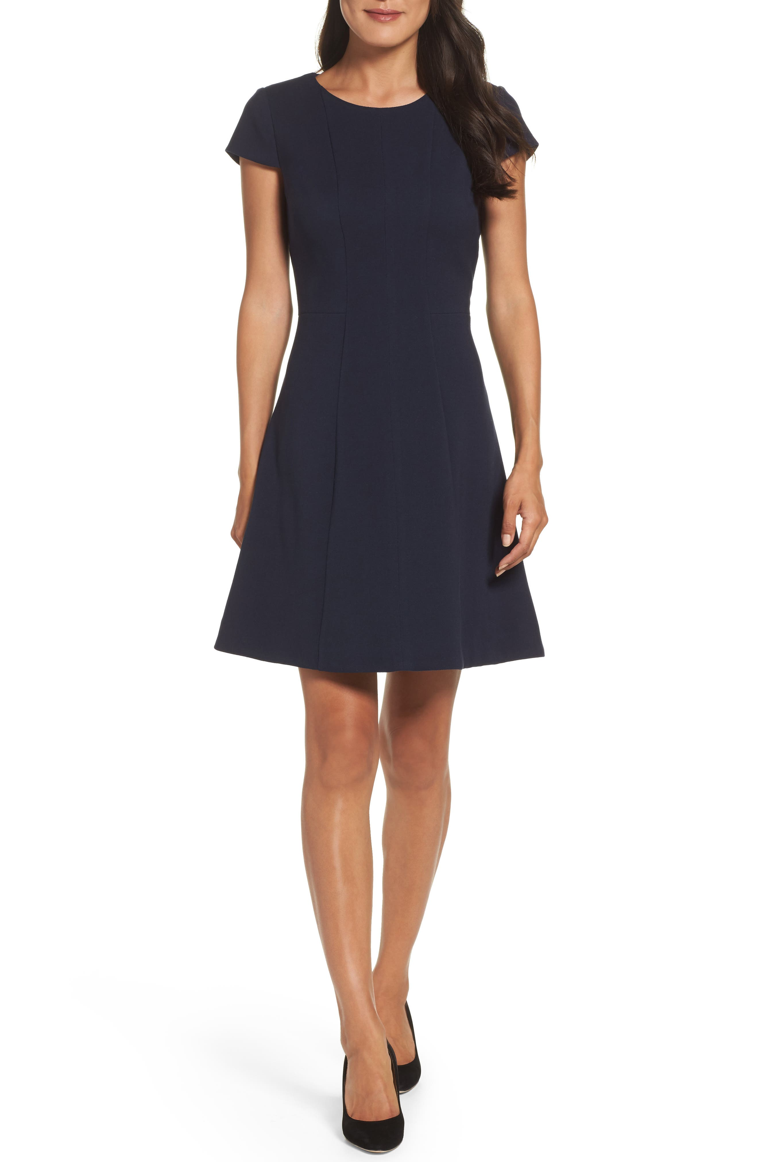 Eliza J Crepe Fit & Flare Dress