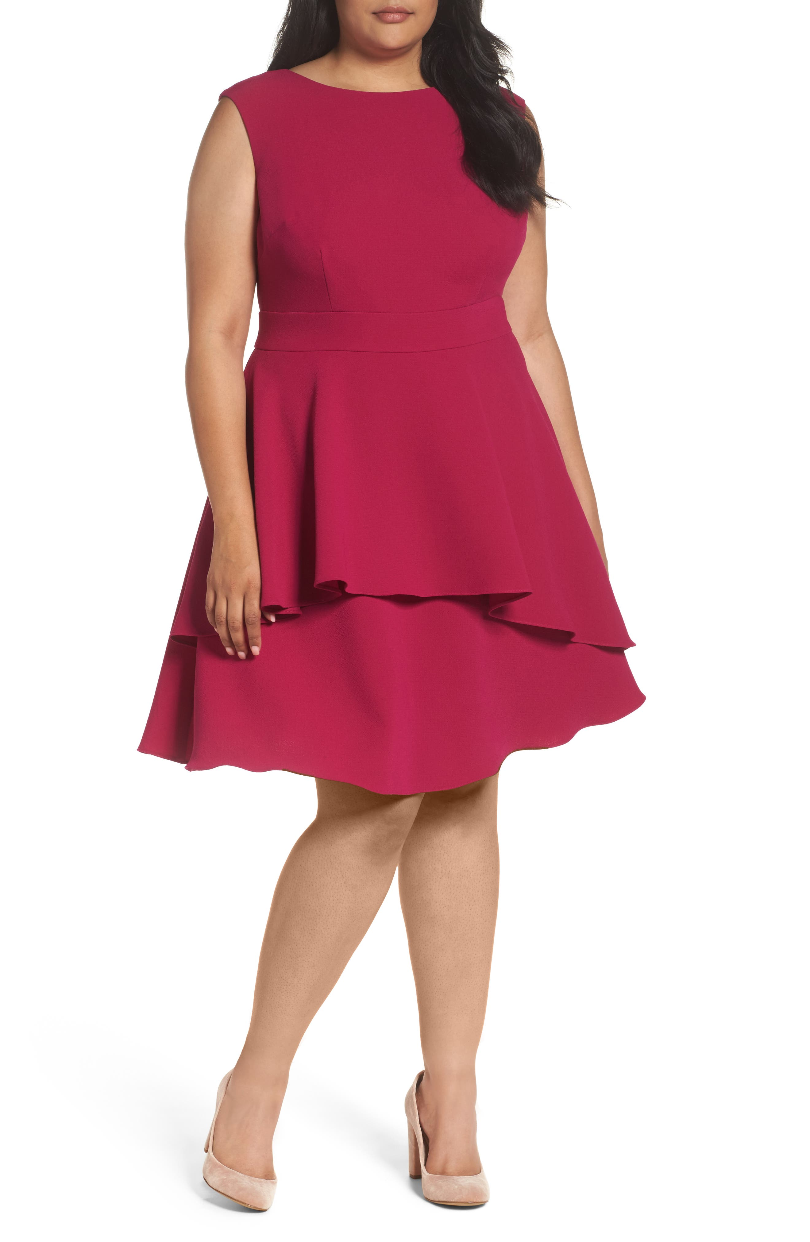 Eliza J Ruffle Drape Crepe Fit & Flare Dress (Plus Size)