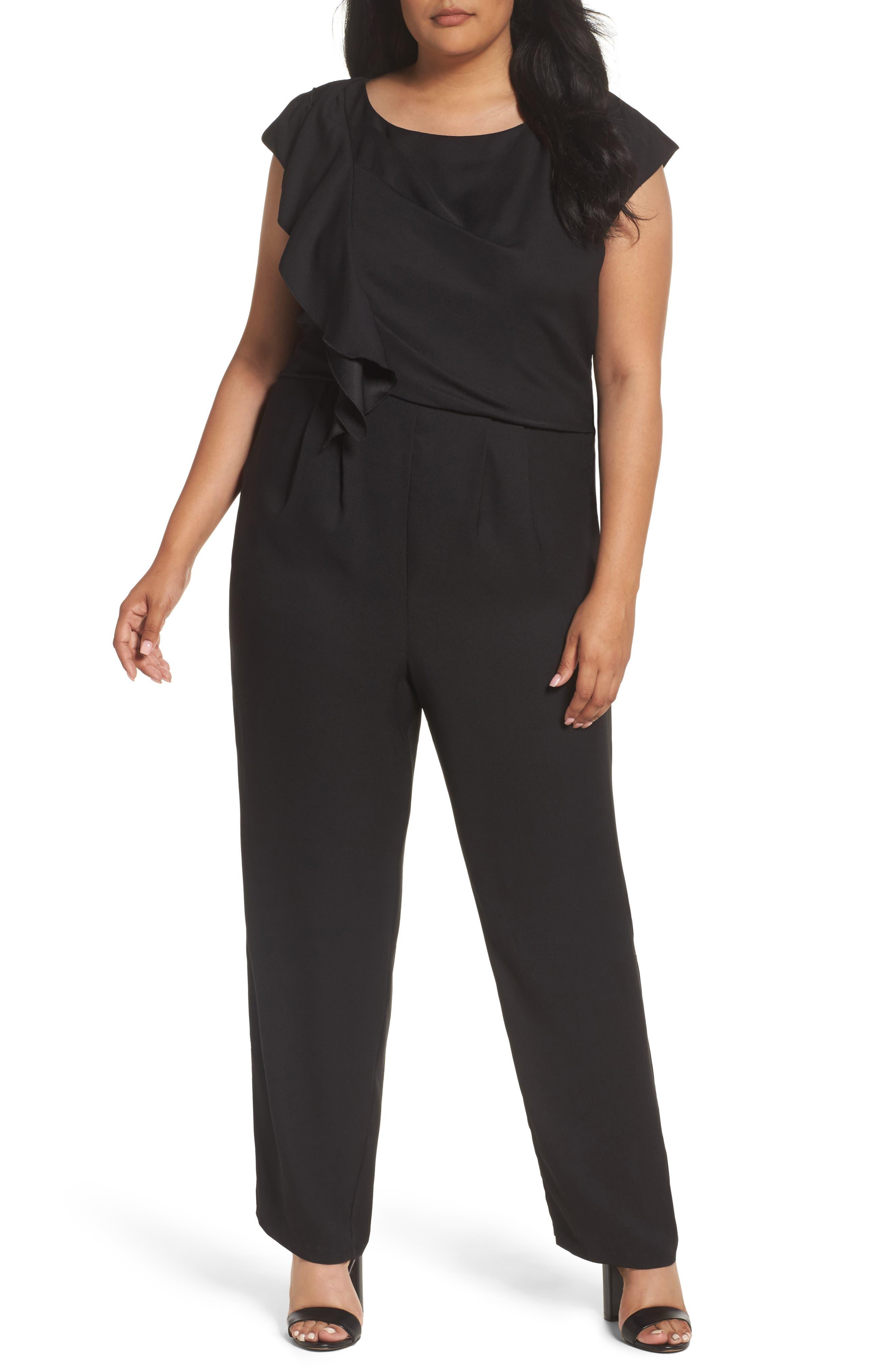 Eliza J Ruffle Crepe Wide Leg Jumpsuit (Plus Size)