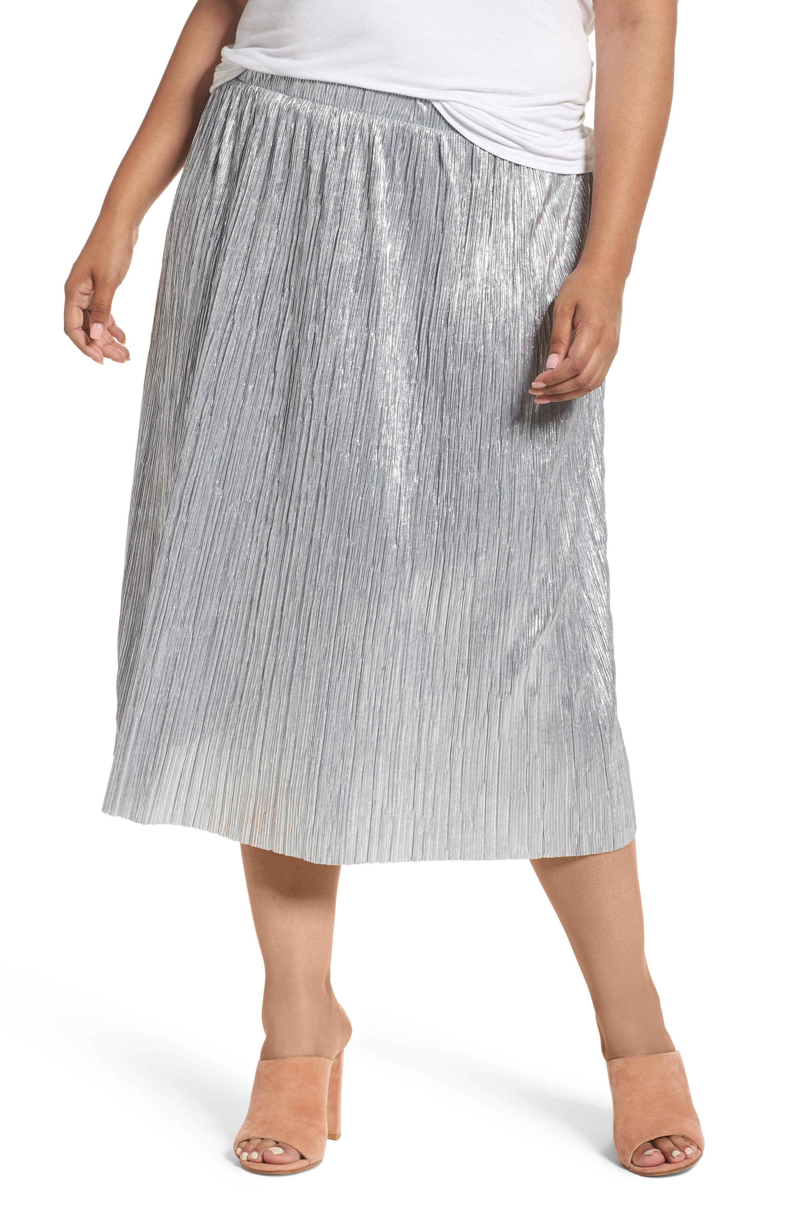 Vince Camuto Crushed Foil Pleated Skirt (Plus Size)