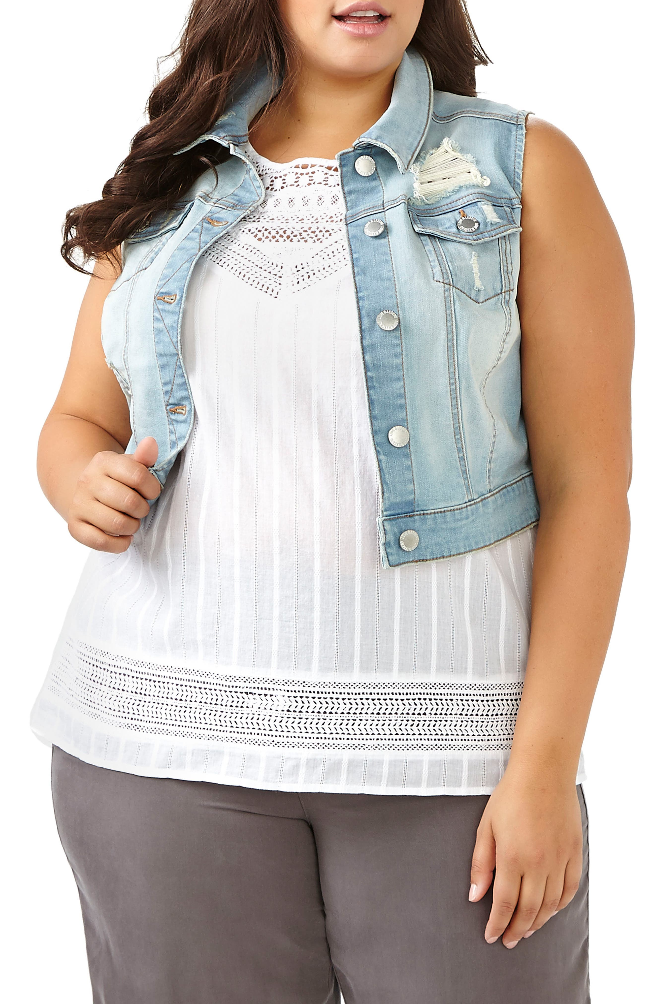 ADDITION ELLE LOVE AND LEGEND Distressed Crop Denim Vest (Plus Size)
