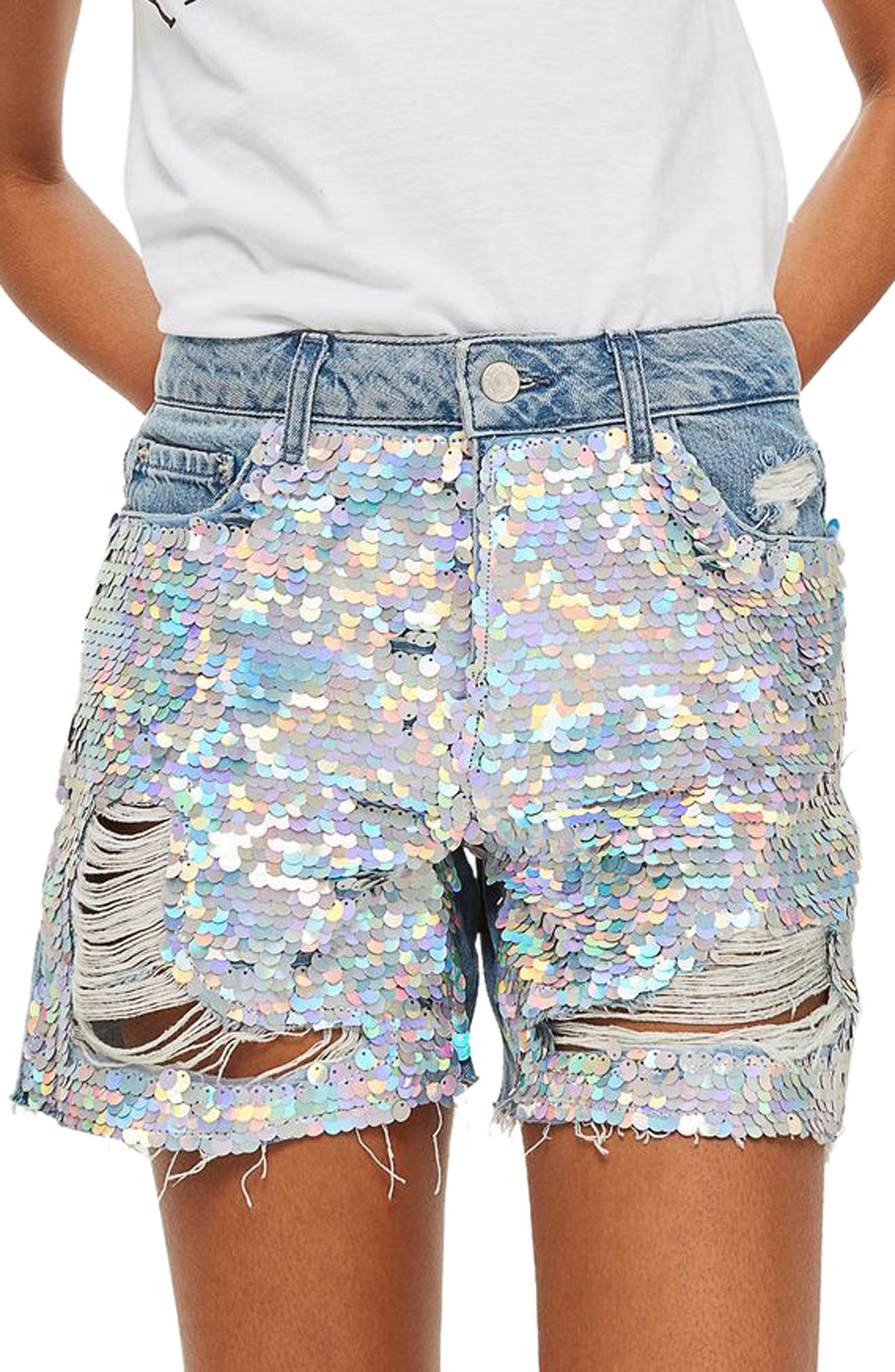 Topshop Ariel Ashley Sequin Boyfriend Shorts