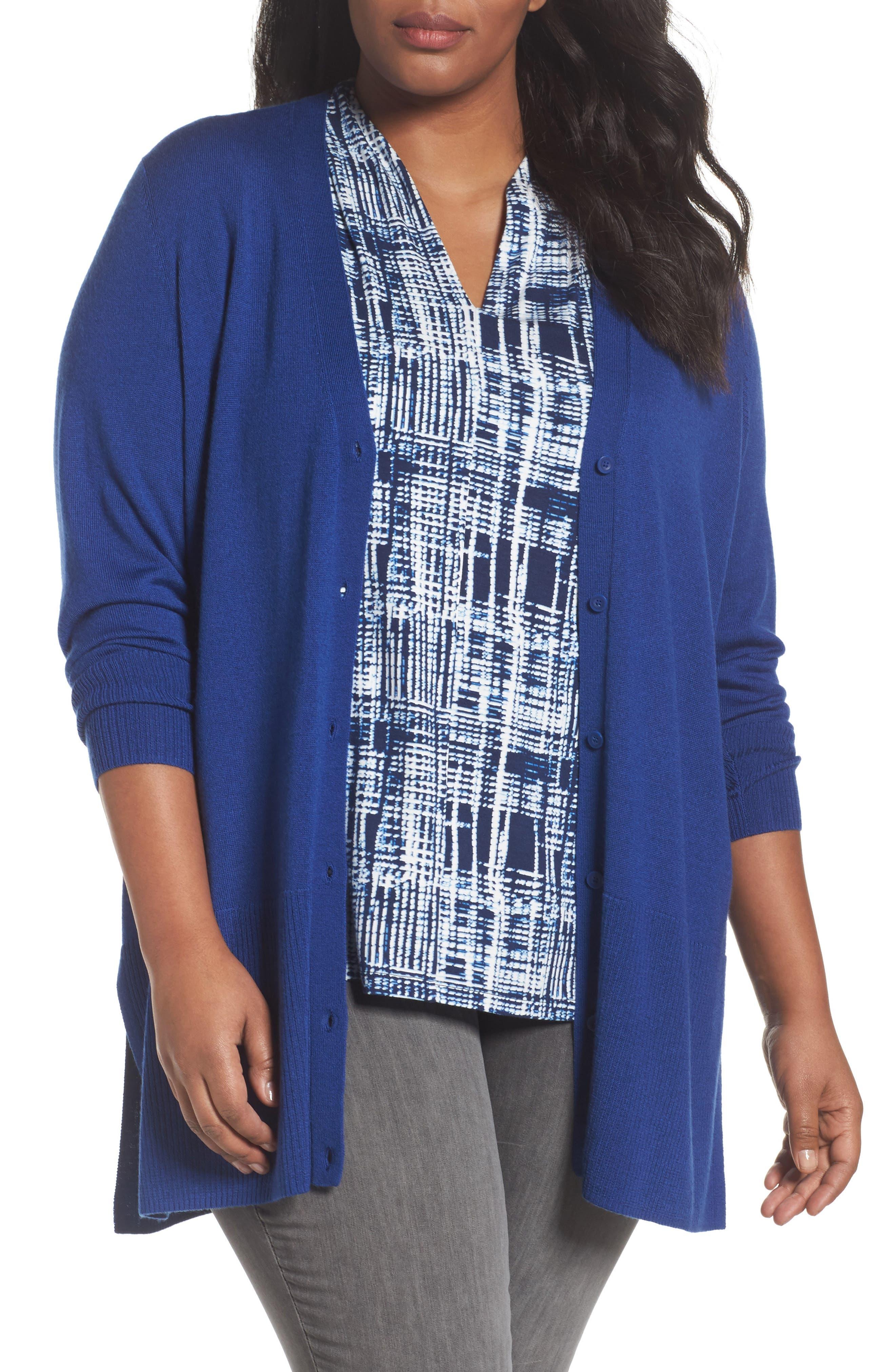 Sejour V-Neck Wool Blend Cardigan (Plus Size)