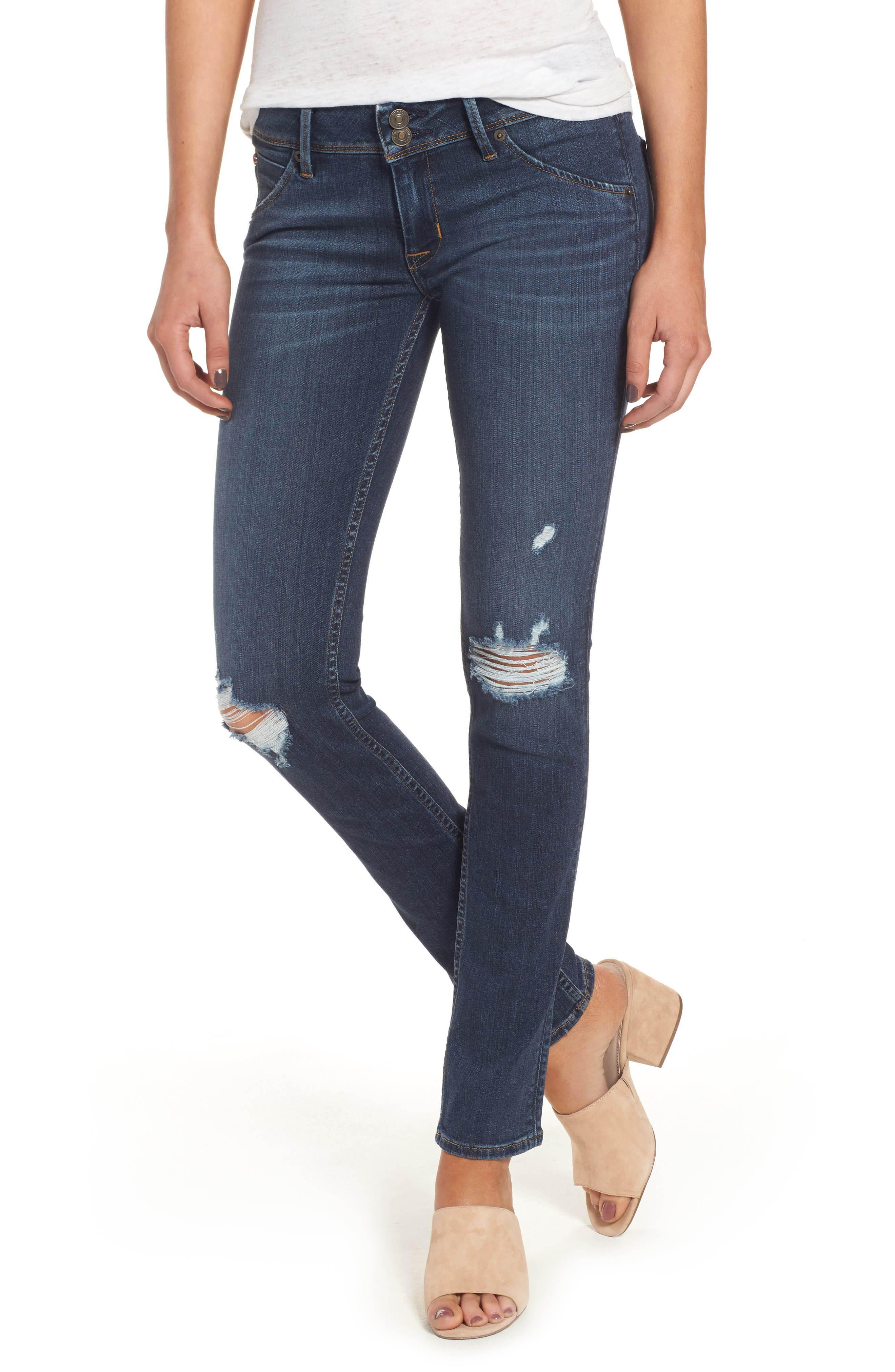 Hudson Jeans Collin Supermodel Ripped Skinny Jeans (Taken) (Long)