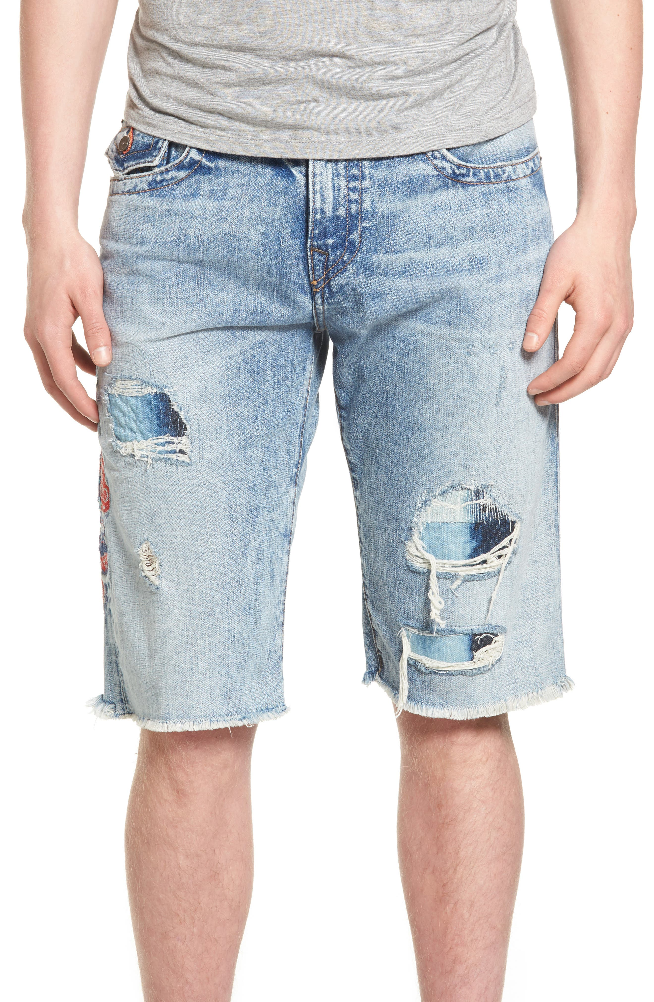 True Religion Brand Jeans Ricky Cutoff Denim Shorts