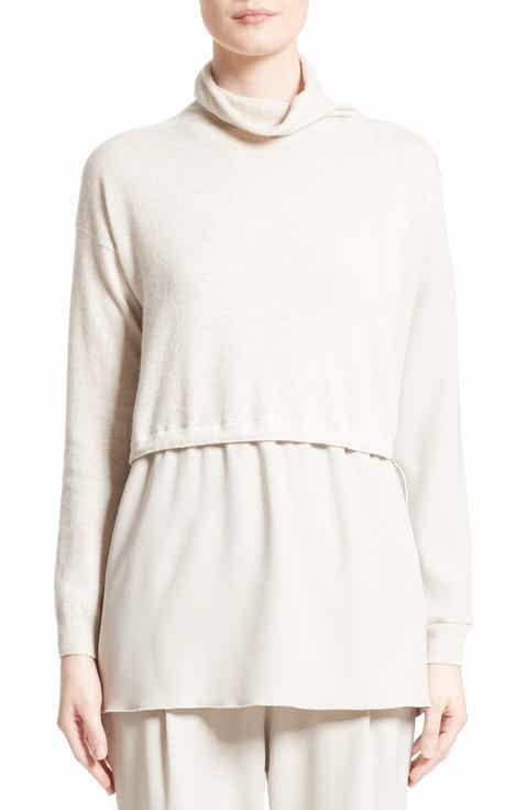 Fabiana Filippi Wool, Silk   Cashmere Layered Turtleneck