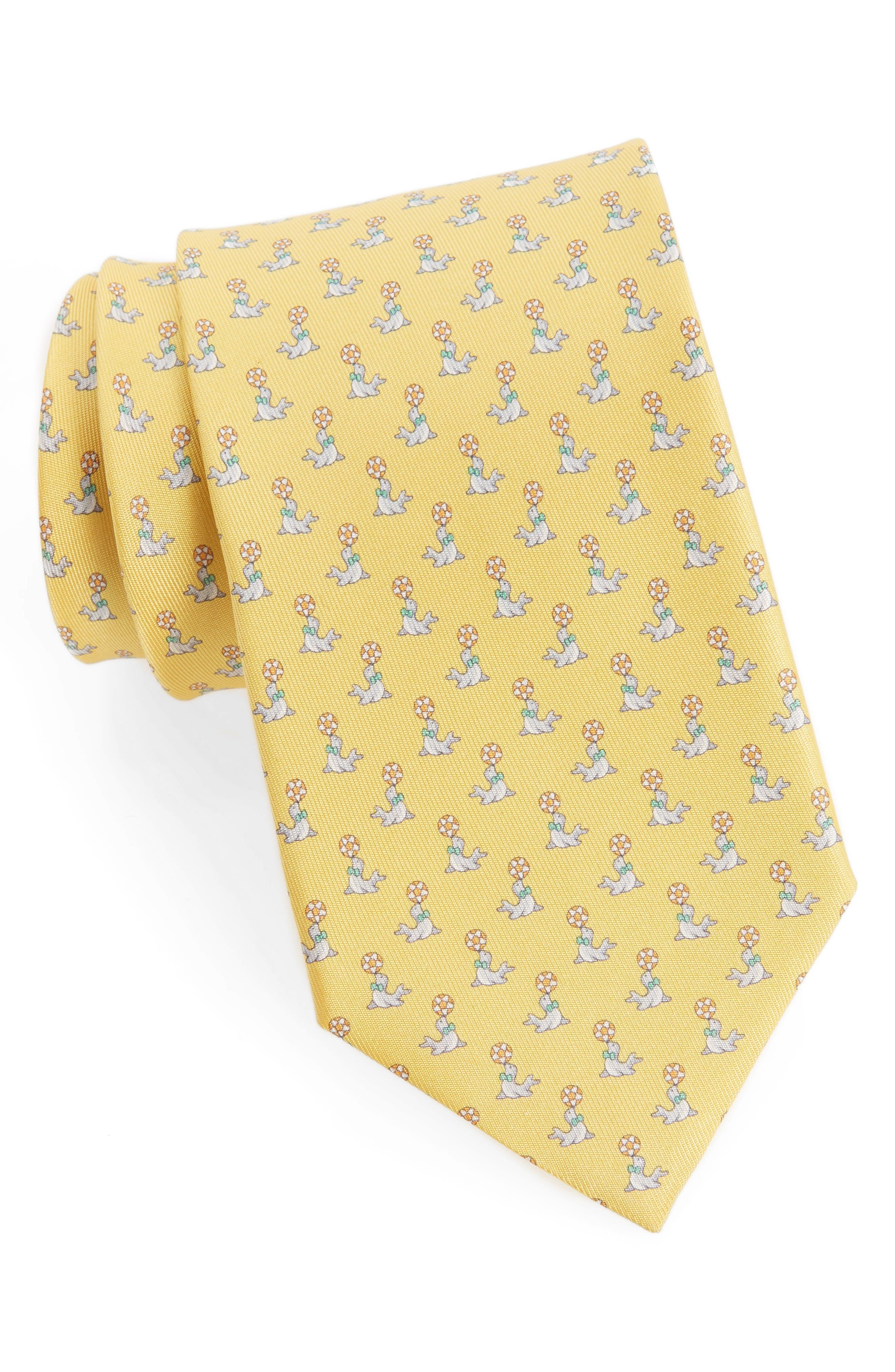 Salvatore Ferragamo Seal Print Silk Tie