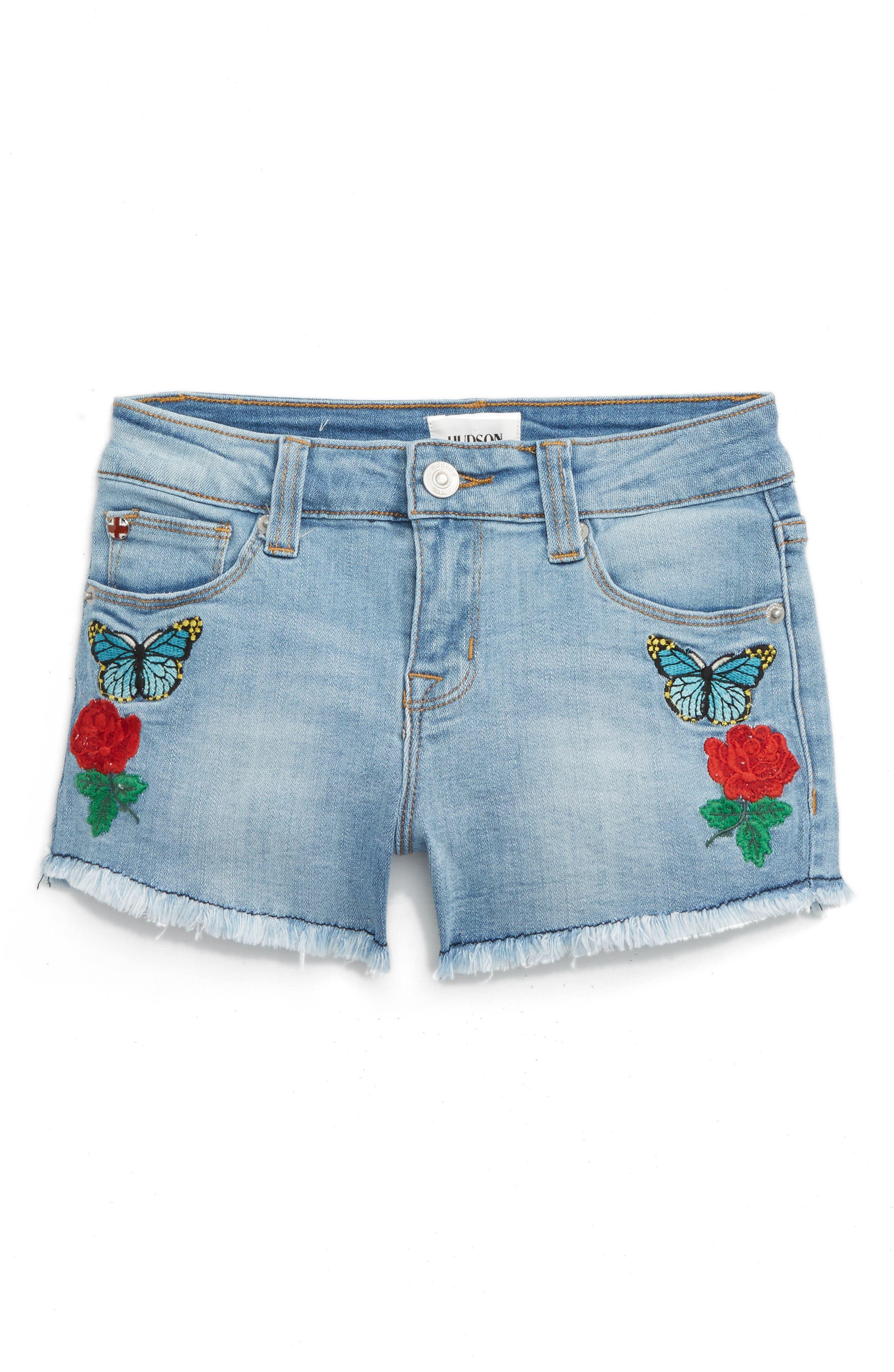 Hudson Flower Field Embroidered Denim Shorts (Big Girls)