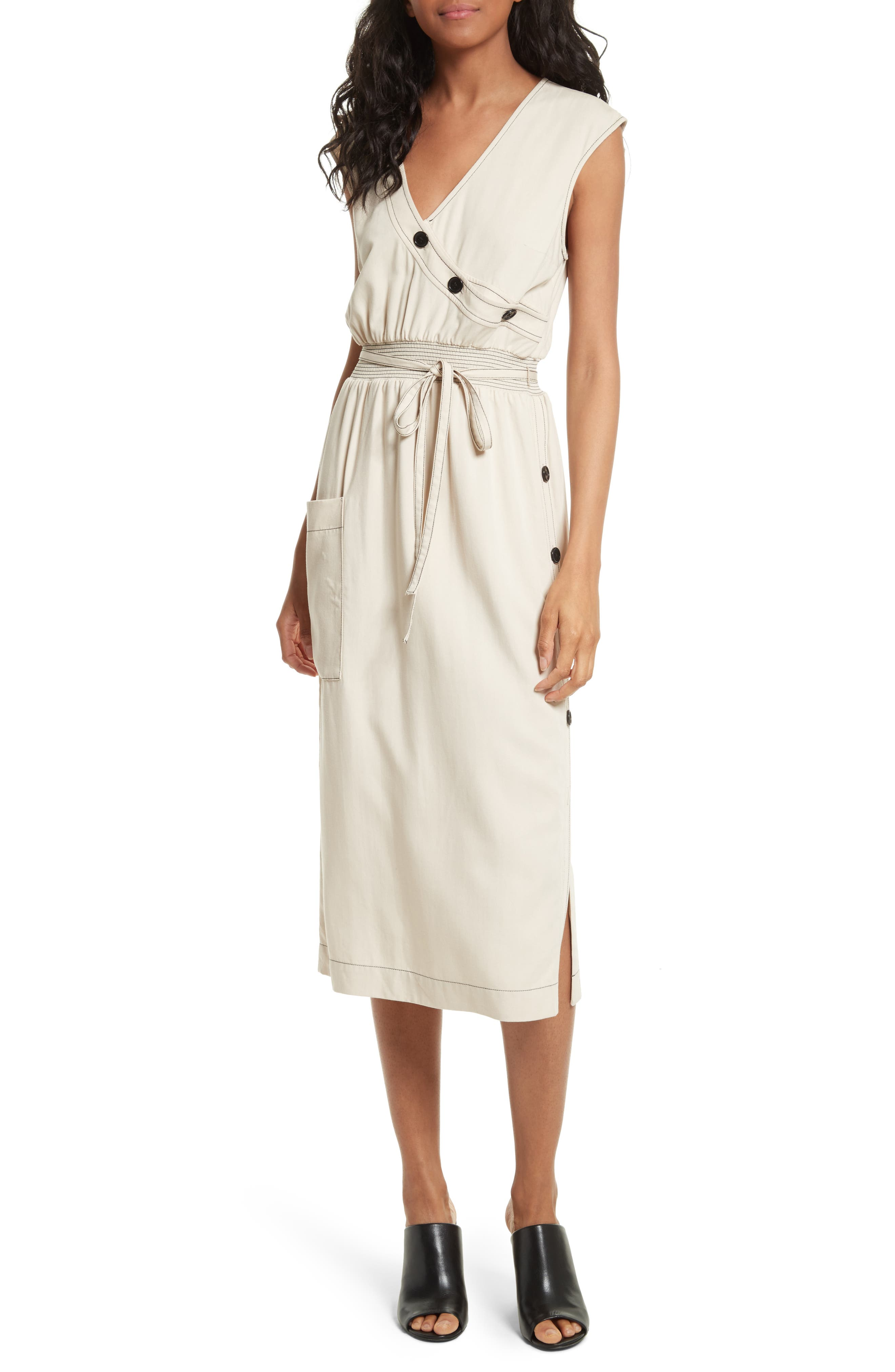 Tracy Reese Side Button Midi Dress