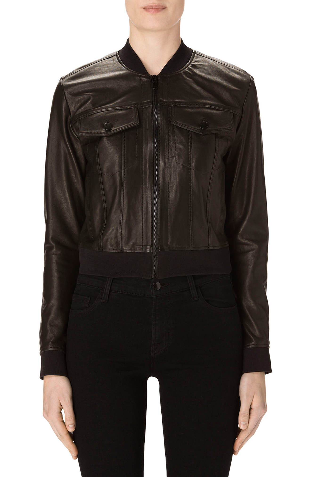 J Brand Harlow Crop Leather Bomber Jacket
