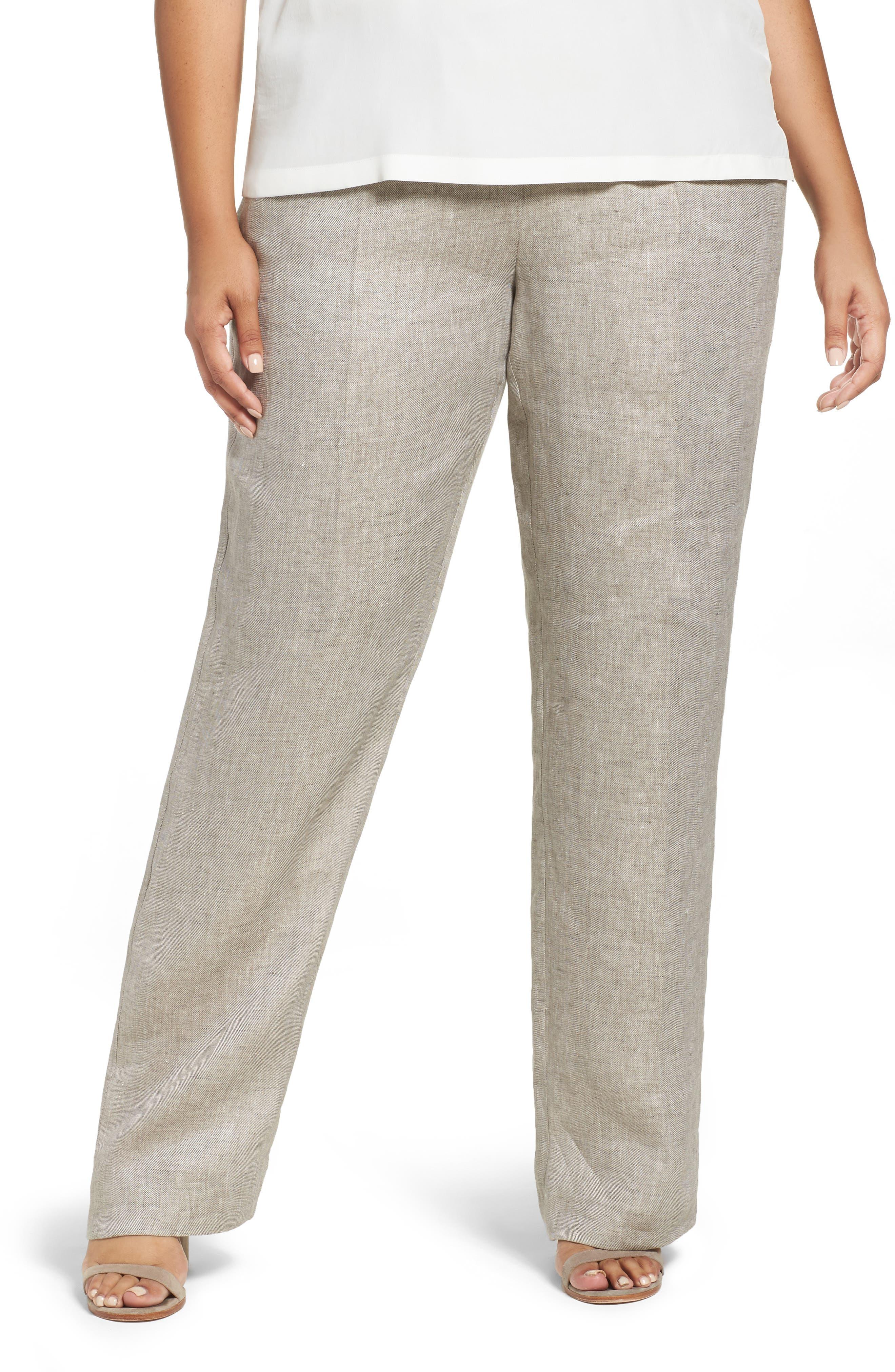 Persona by Marina Rinaldi Roger Drawstring Linen Pants (Plus Size)