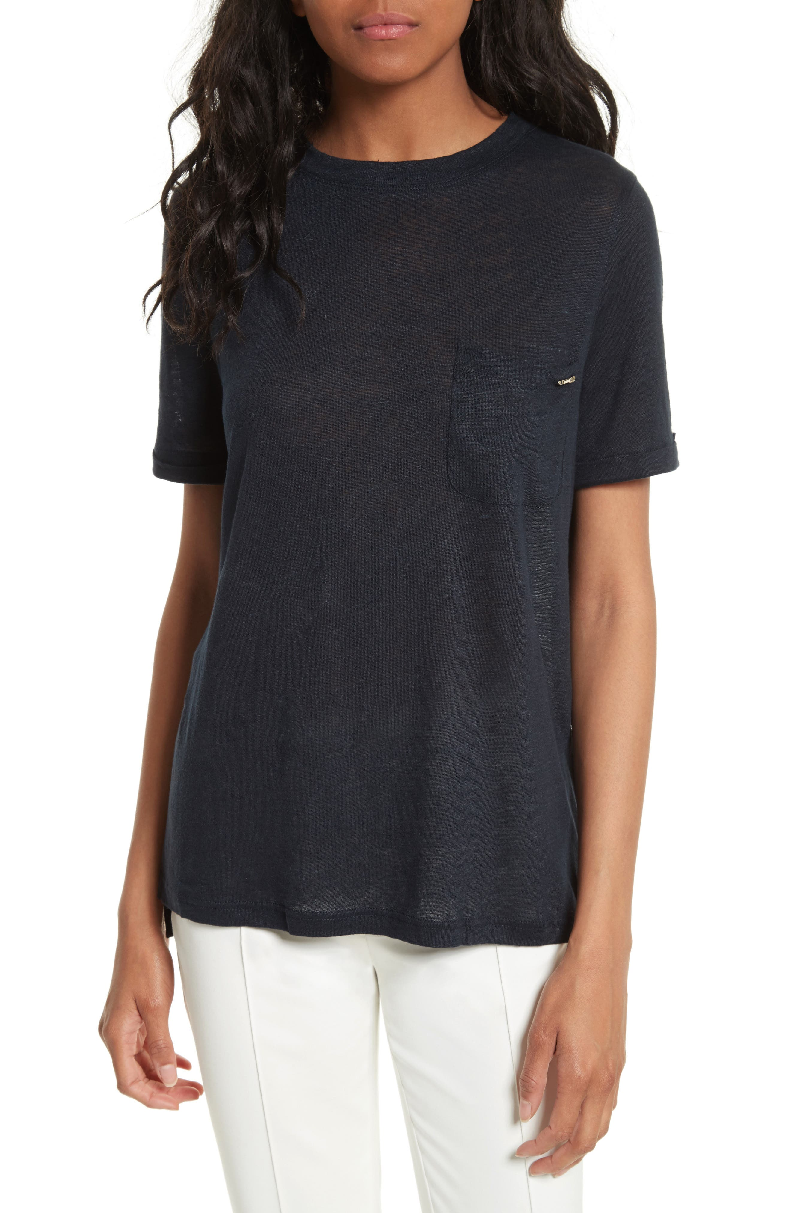 Ted Baker London Harlaa Square Cut Linen Tee