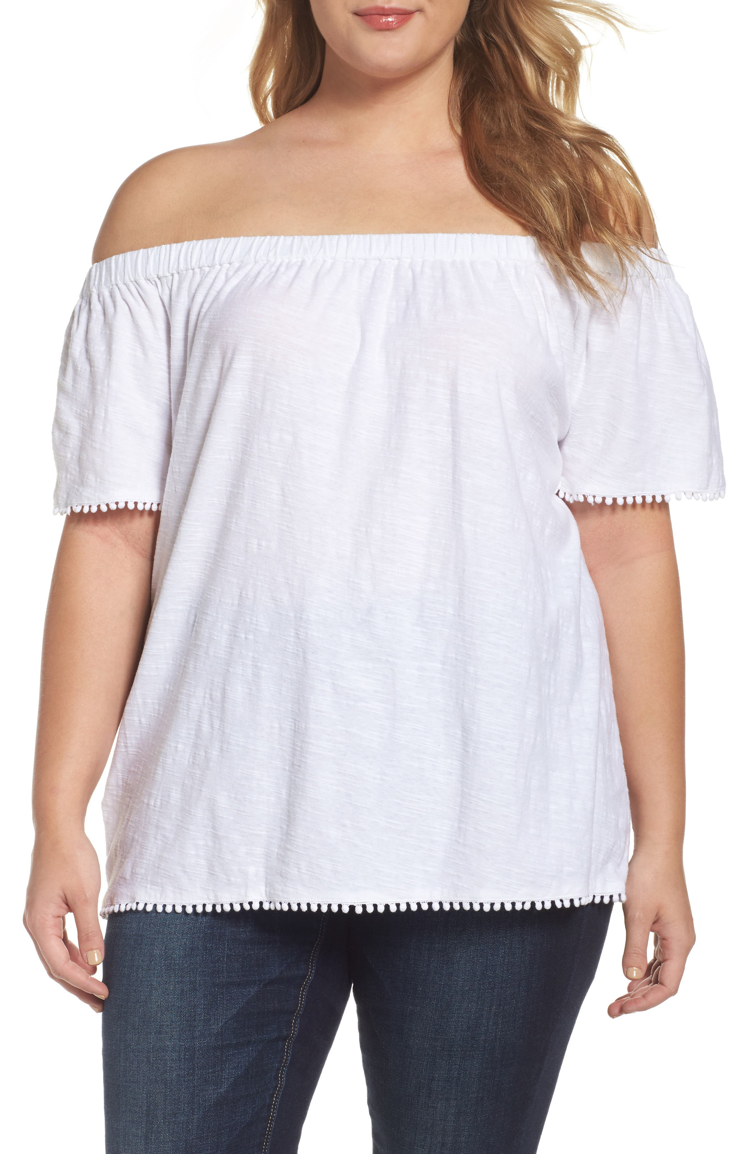 Two by Vince Camuto Off the Shoulder Cotton Knit Top (Plus Size)