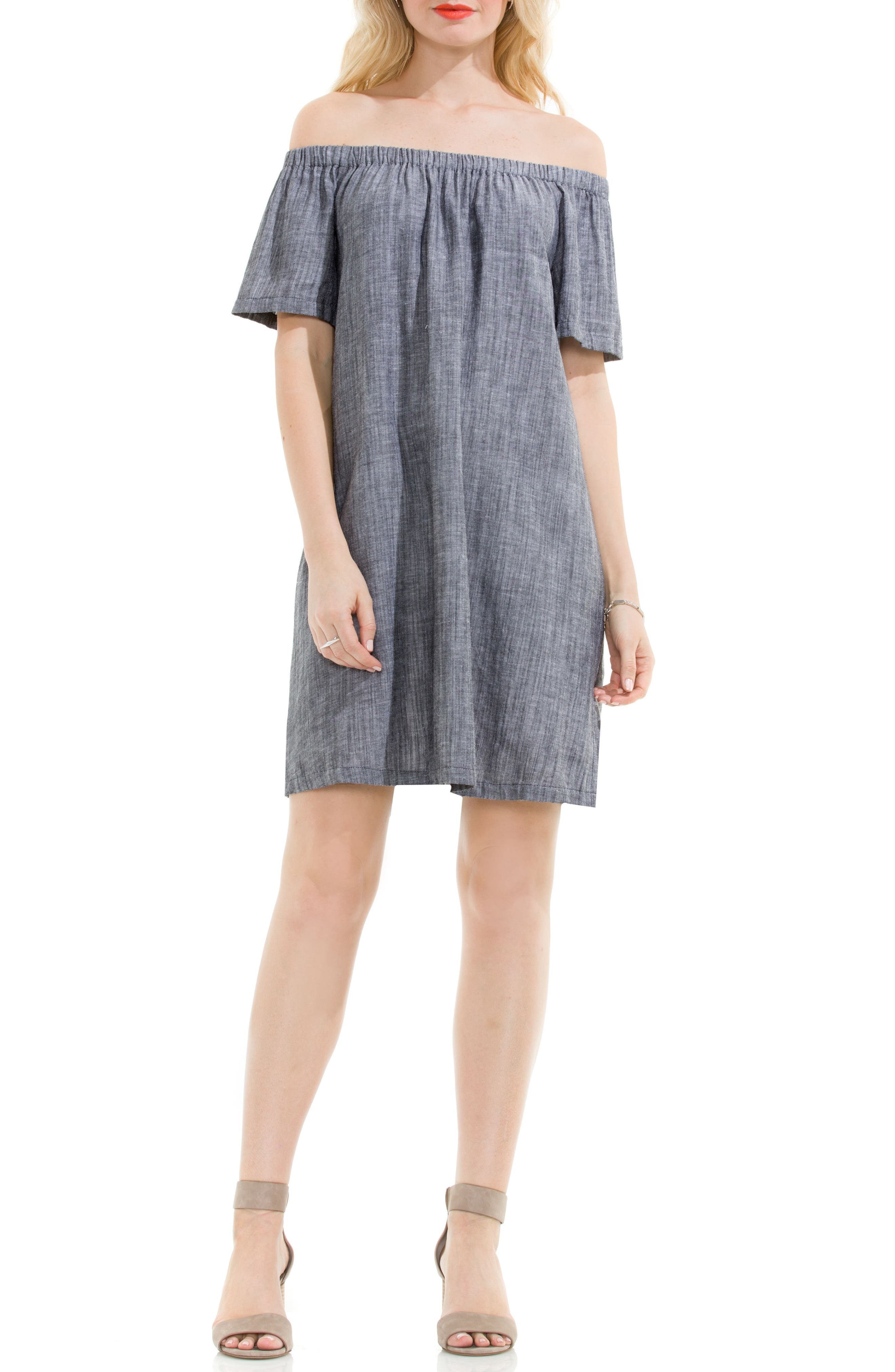 Two by Vince Camuto Off the Shoulder Cotton Blend Dress