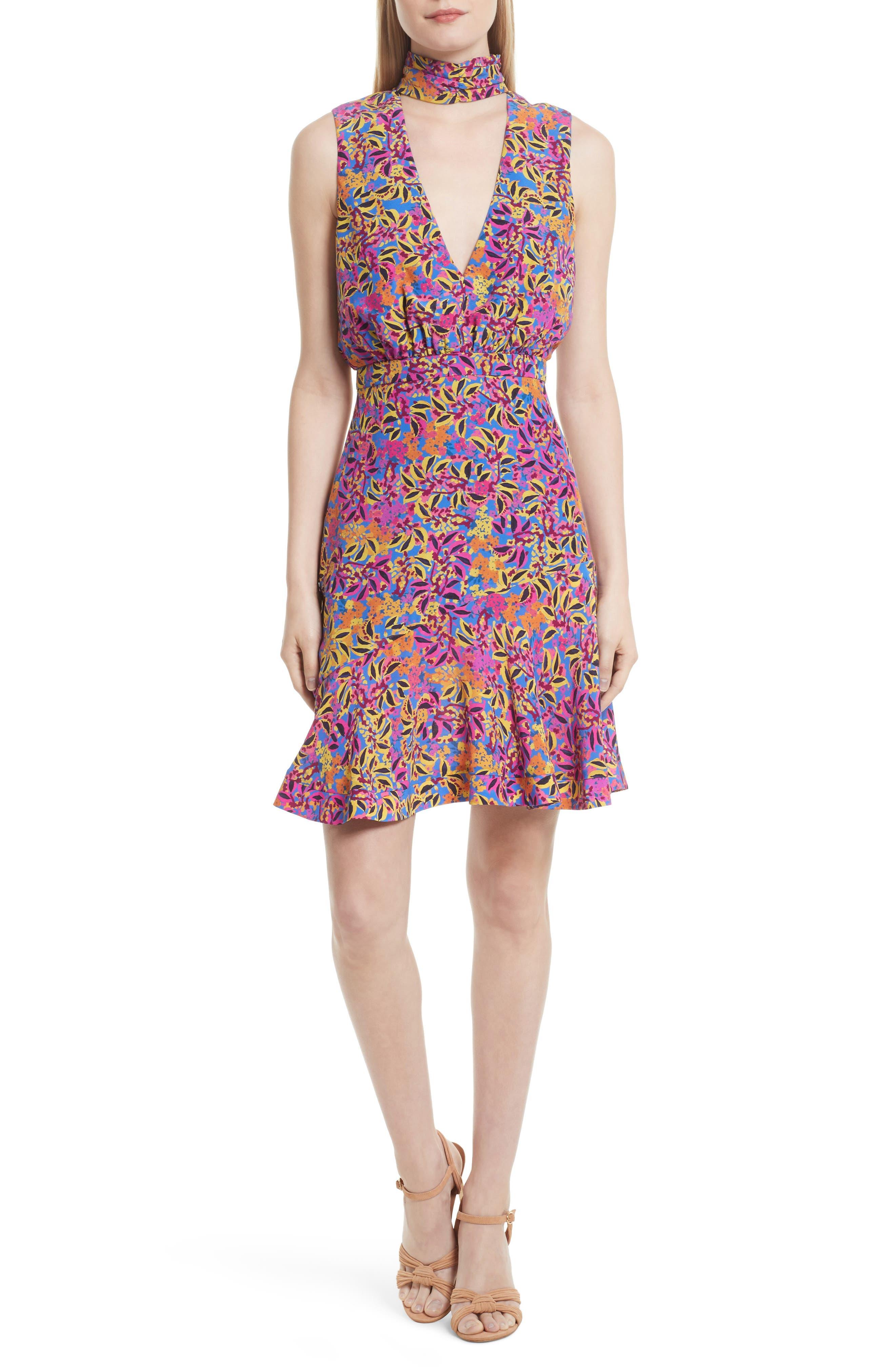 SALONI Fleur Print Silk Dress