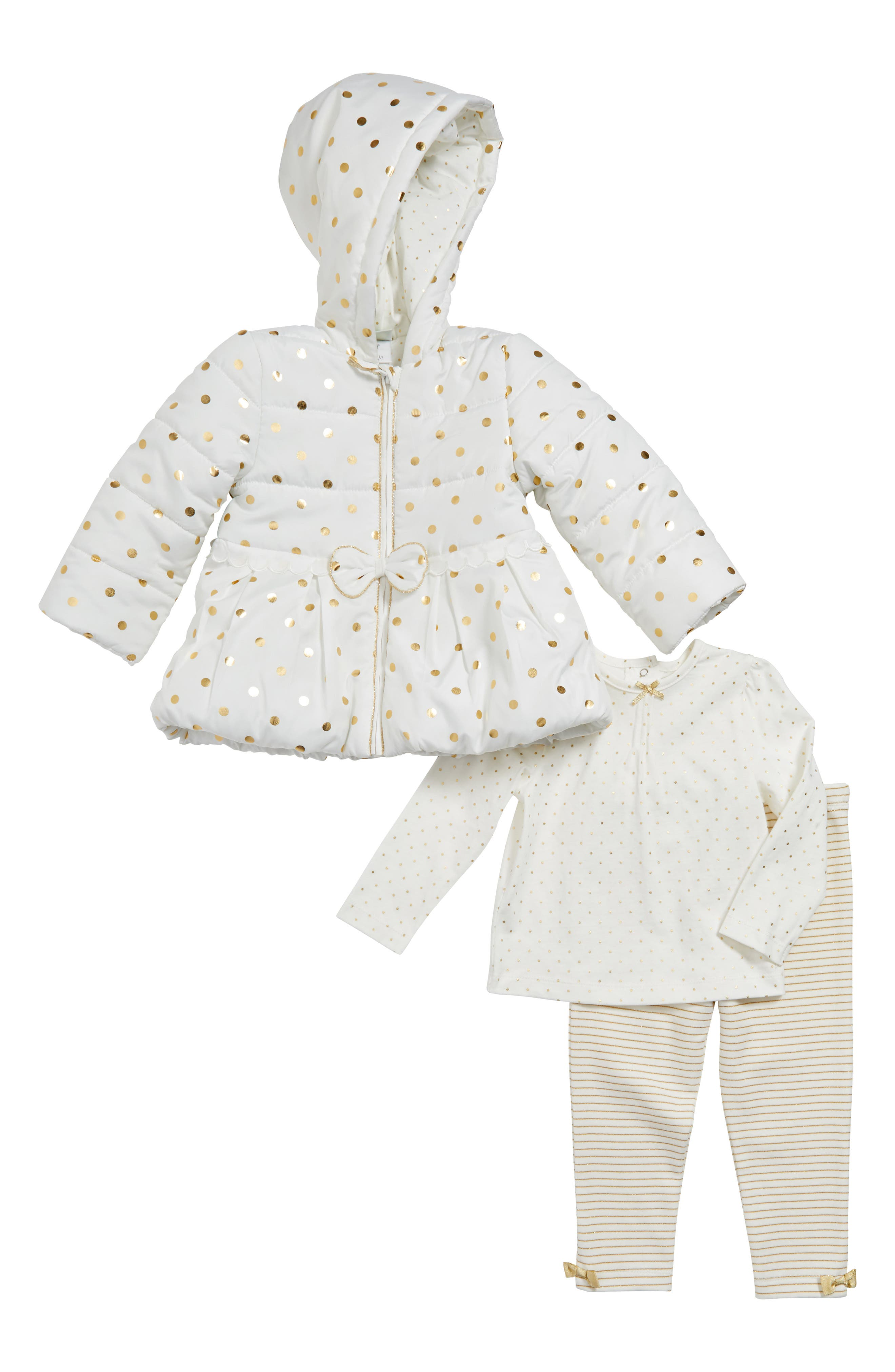 Little Me Gold Dot Quilted Hooded Jacket, Tee & Leggings (Baby Girls)