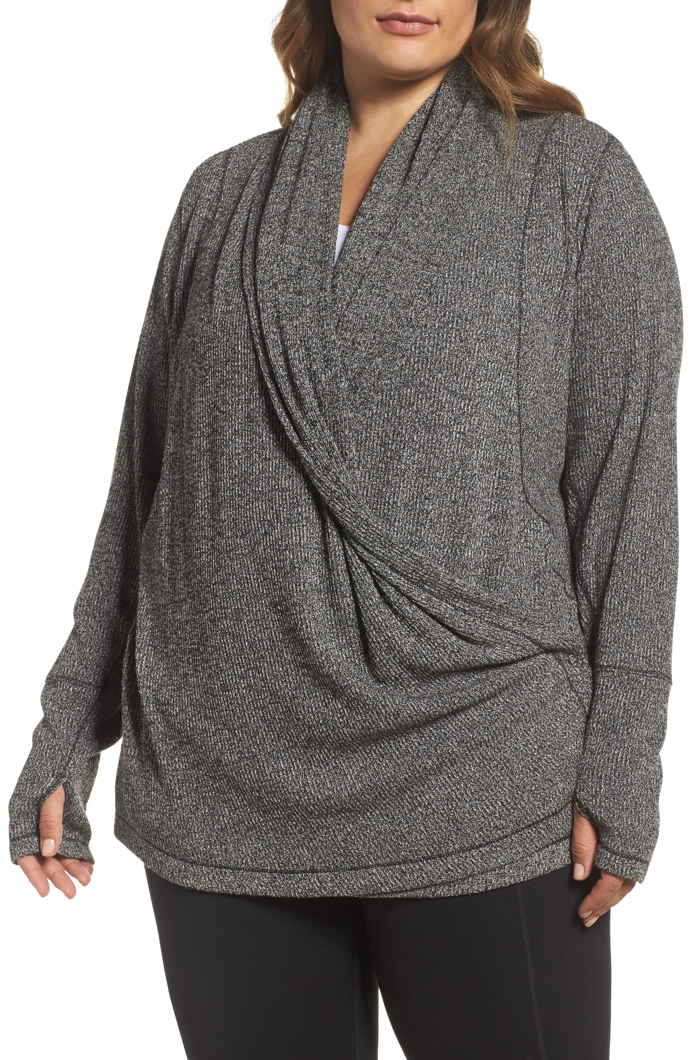 Zella Enlighten Me Ribbed Cardigan (Plus Size)