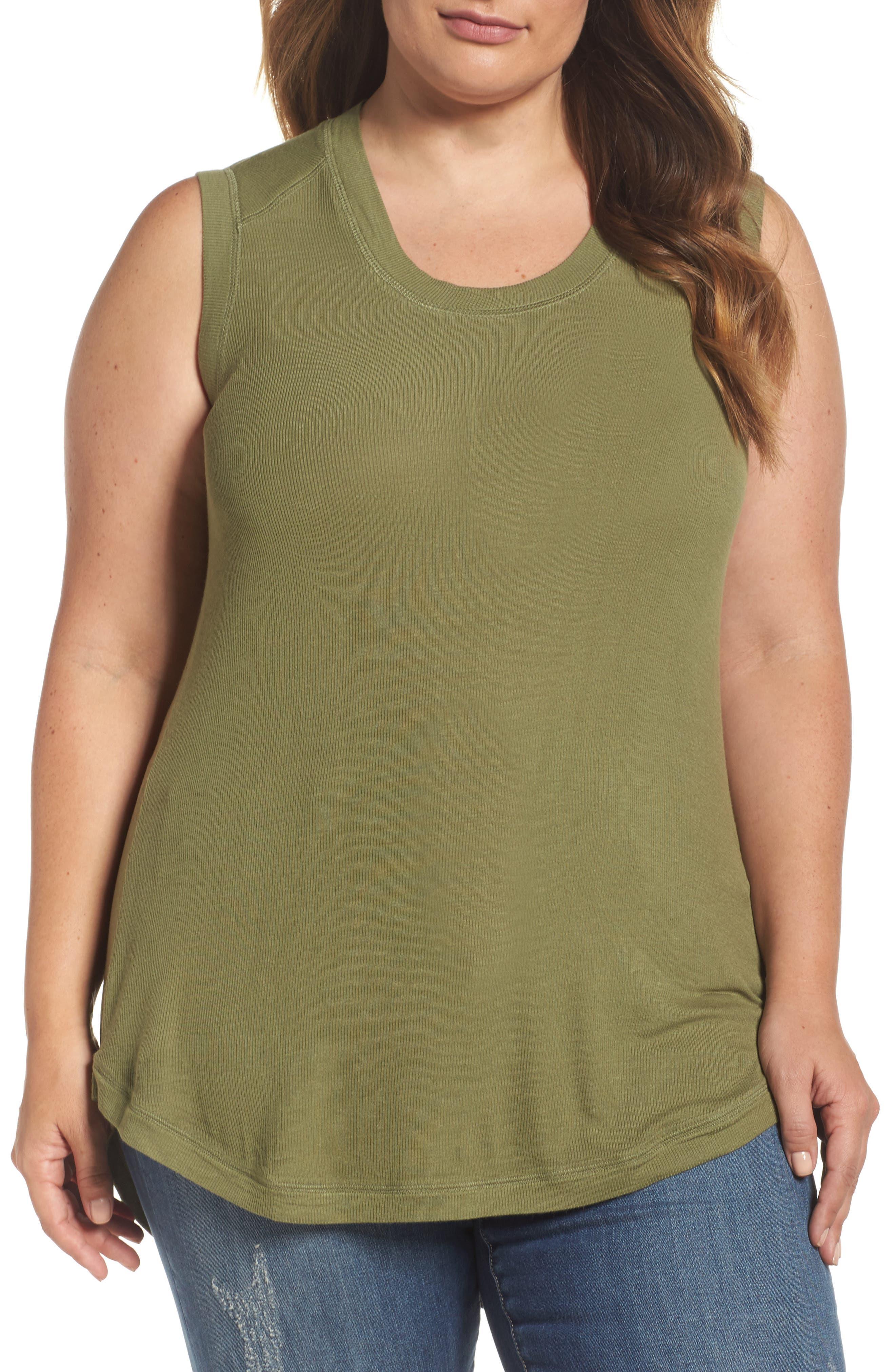 Melissa McCarthy Seven7 Ribbed Tank (Plus Size)
