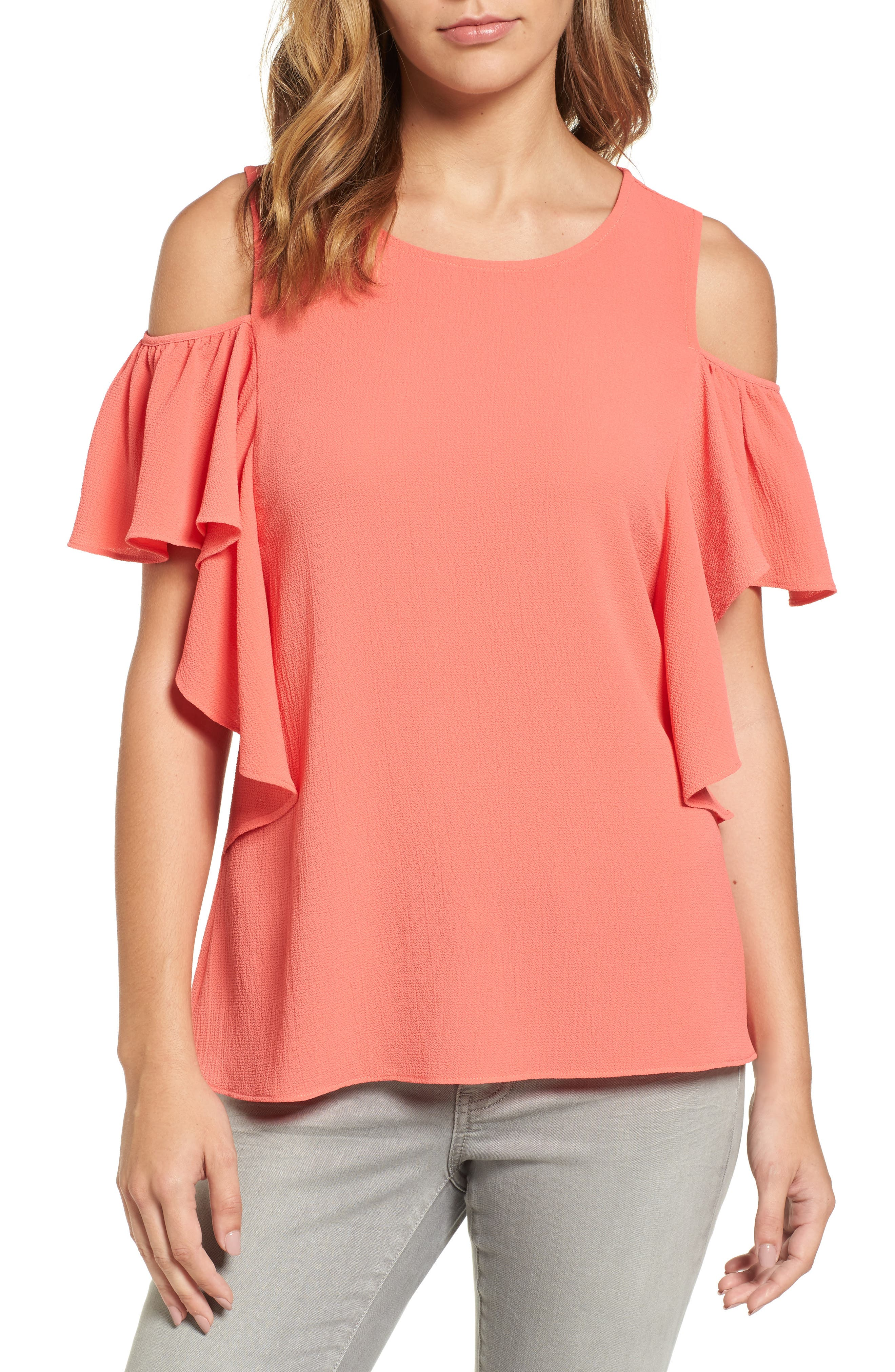 Bobeau Cold Shoulder Ruffle Sleeve Top (Regular & Petite)