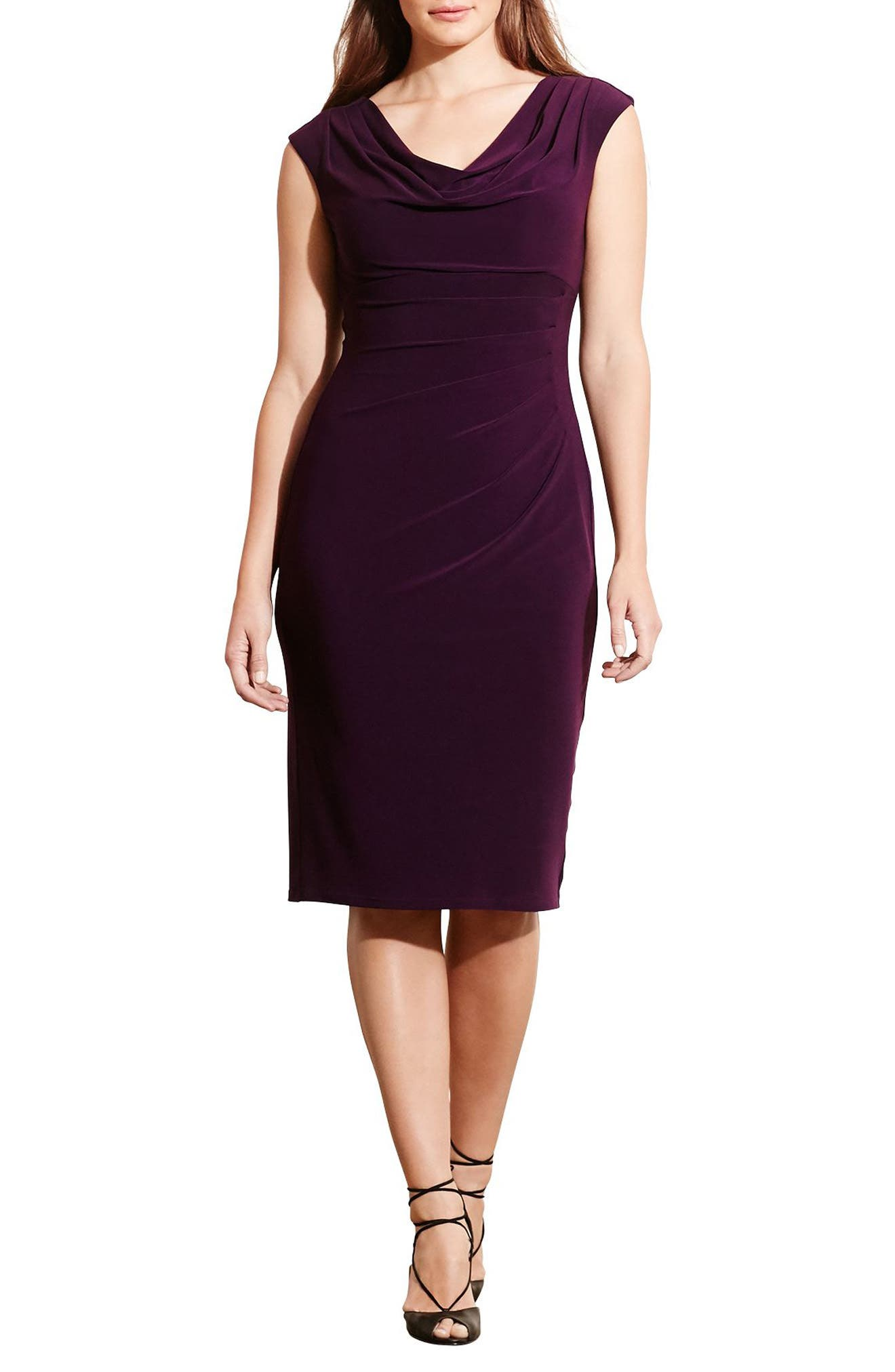 Lauren Ralph Lauren Cowl Neck Jersey Sheath Dress (Plus Size)