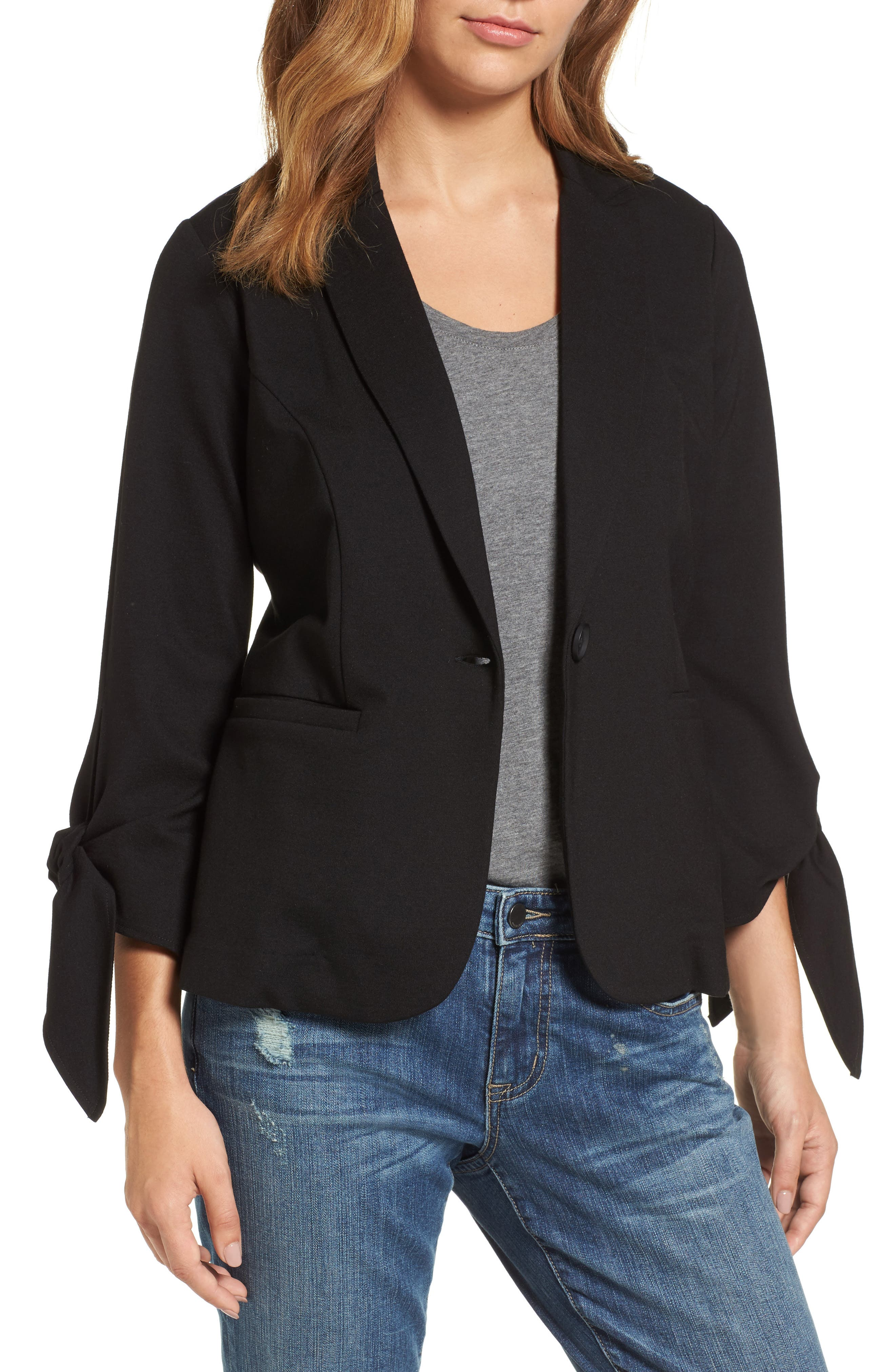 Halogen® Tie Sleeve Knit Jacket (Regular & Petite)