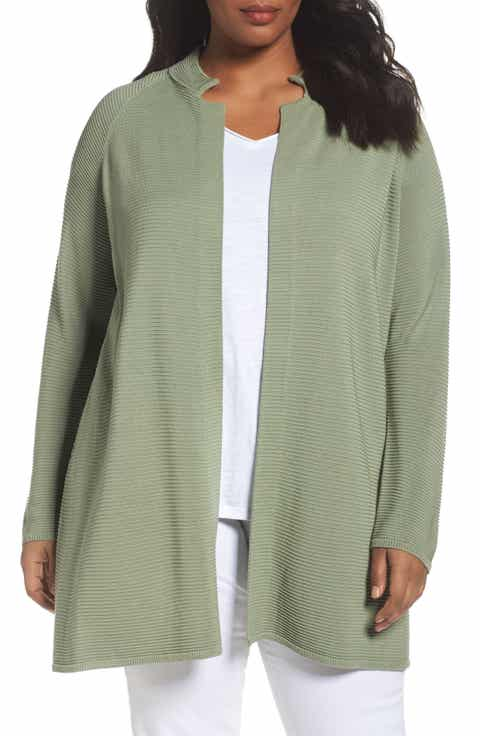 Eileen Fisher Rib Tencel® Stand Collar Long Jacket (Plus Size)