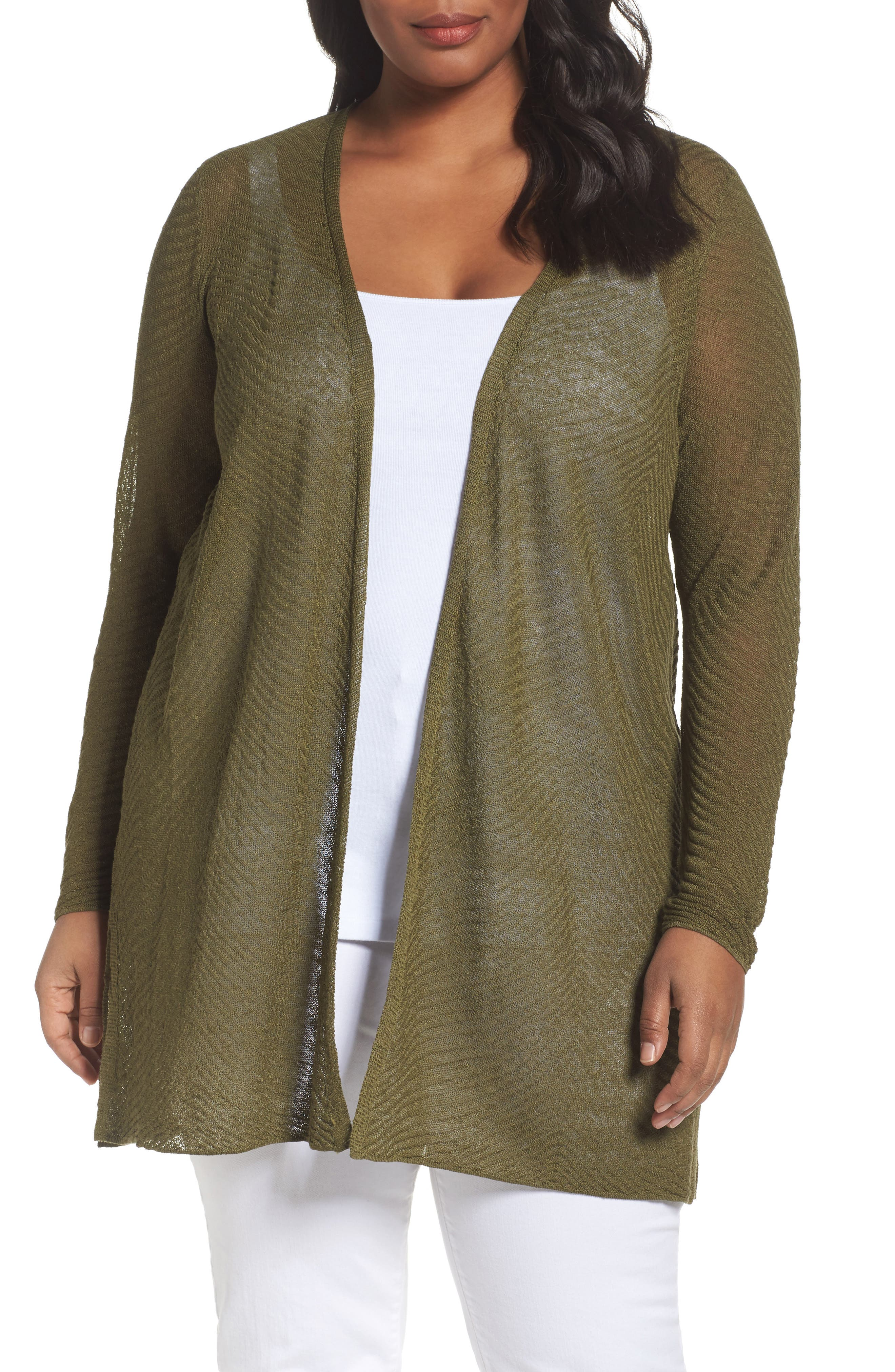 Eileen Fisher Hemp Blend Long Cardigan (Plus Size)