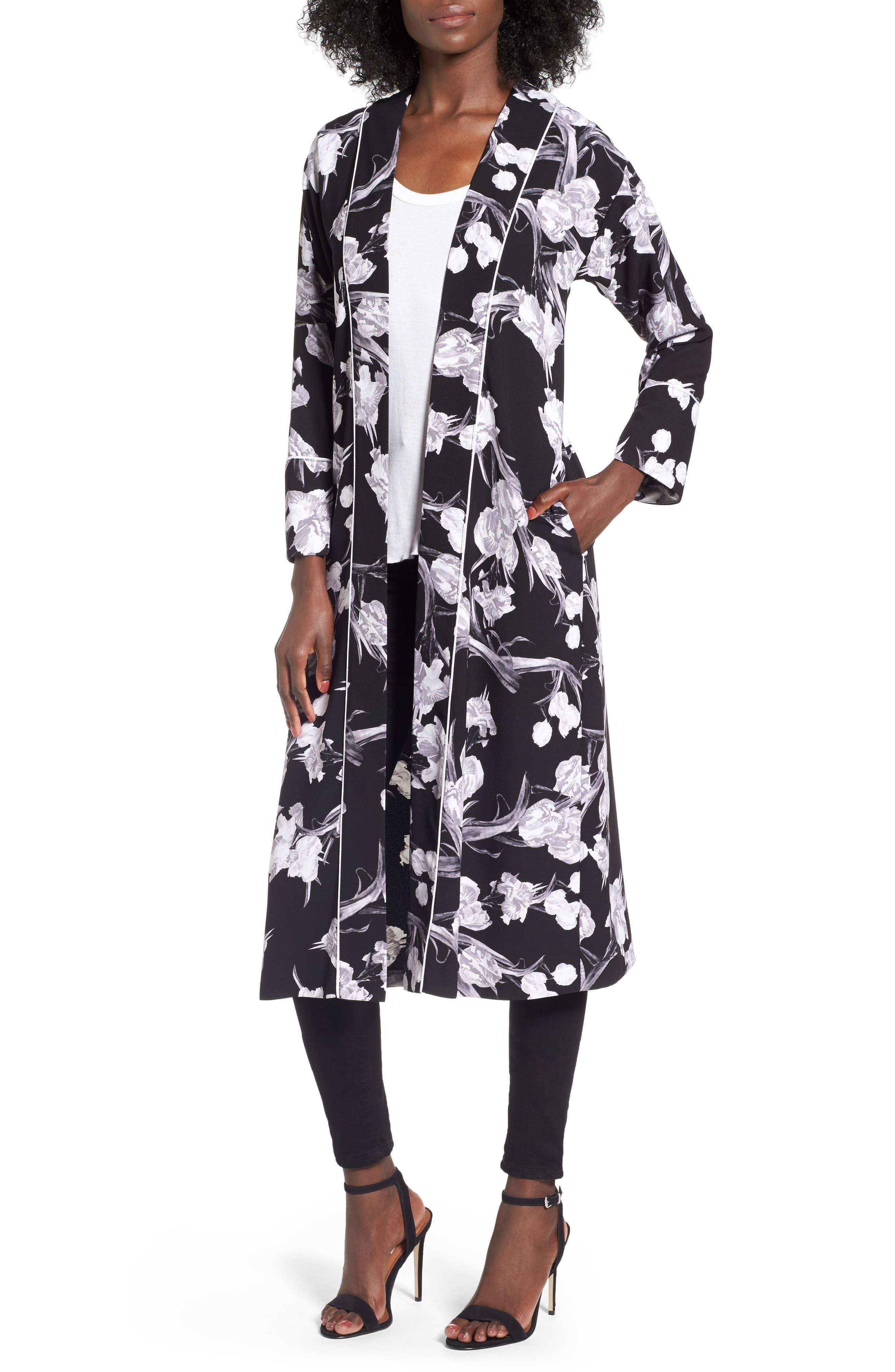 Topshop Floral Kimono Duster Jacket