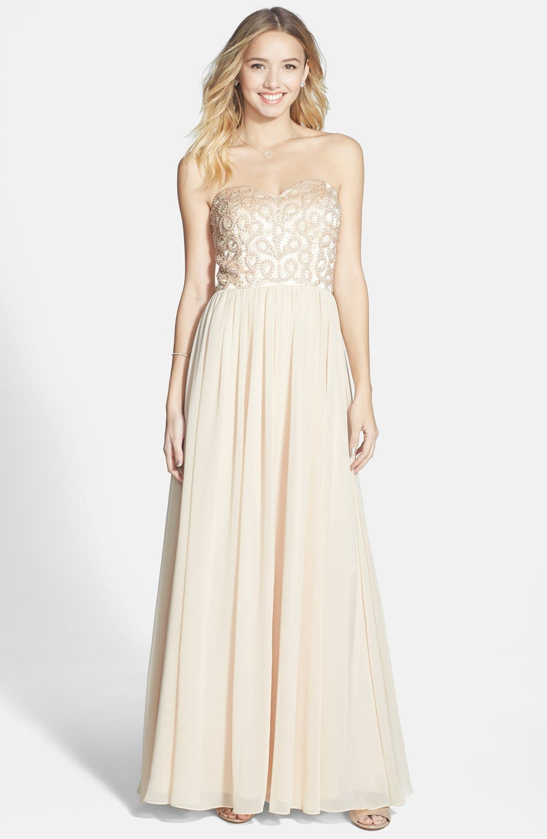 Alternate Image 1 Selected - Xscape Embellished Chiffon Fit & Flare Gown