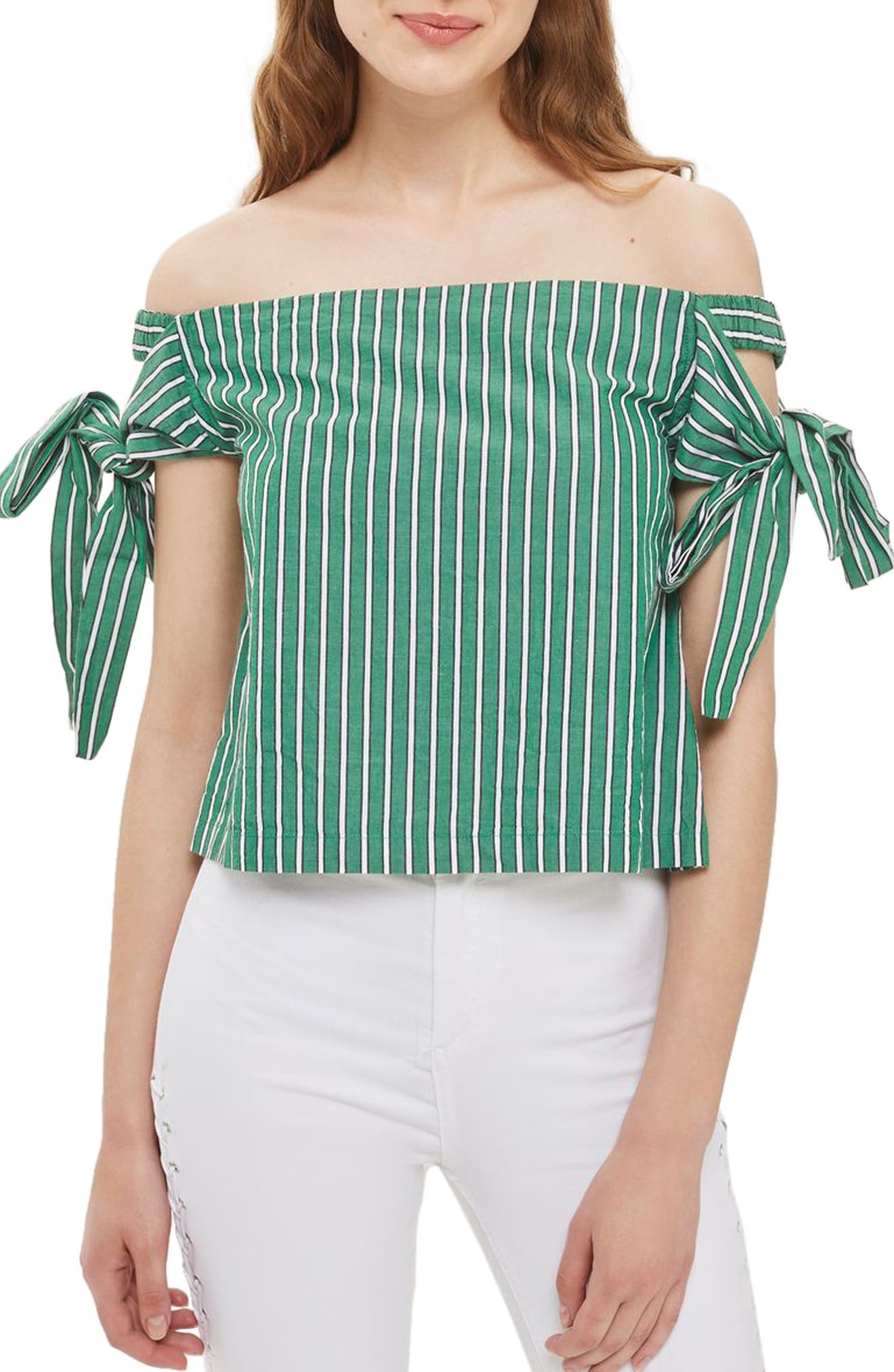 Alternate Image 1 Selected - Topshop Bardot Tie Sleeve Stripe Top