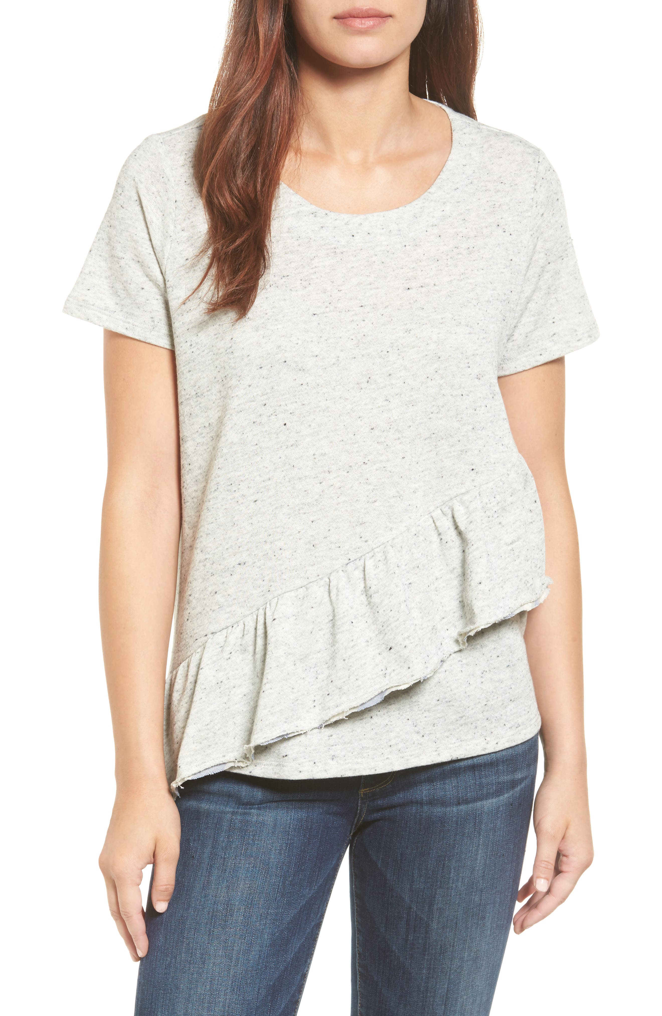 Caslon® Asymmetrical Ruffle Short Sleeve Sweatshirt (Regular & Petite)