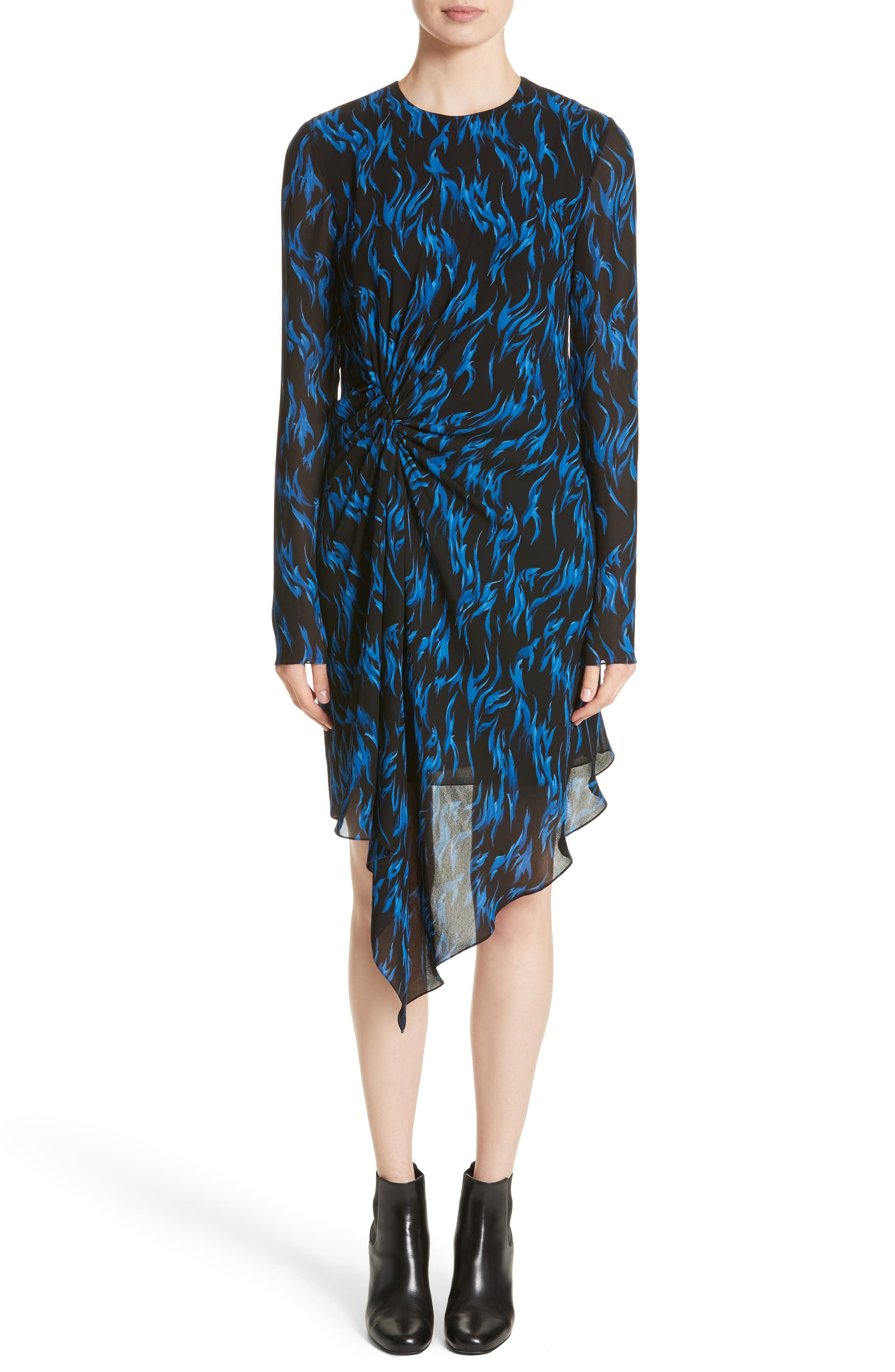 Saint Laurent Flame Print Crepe Asymmetrical Dress