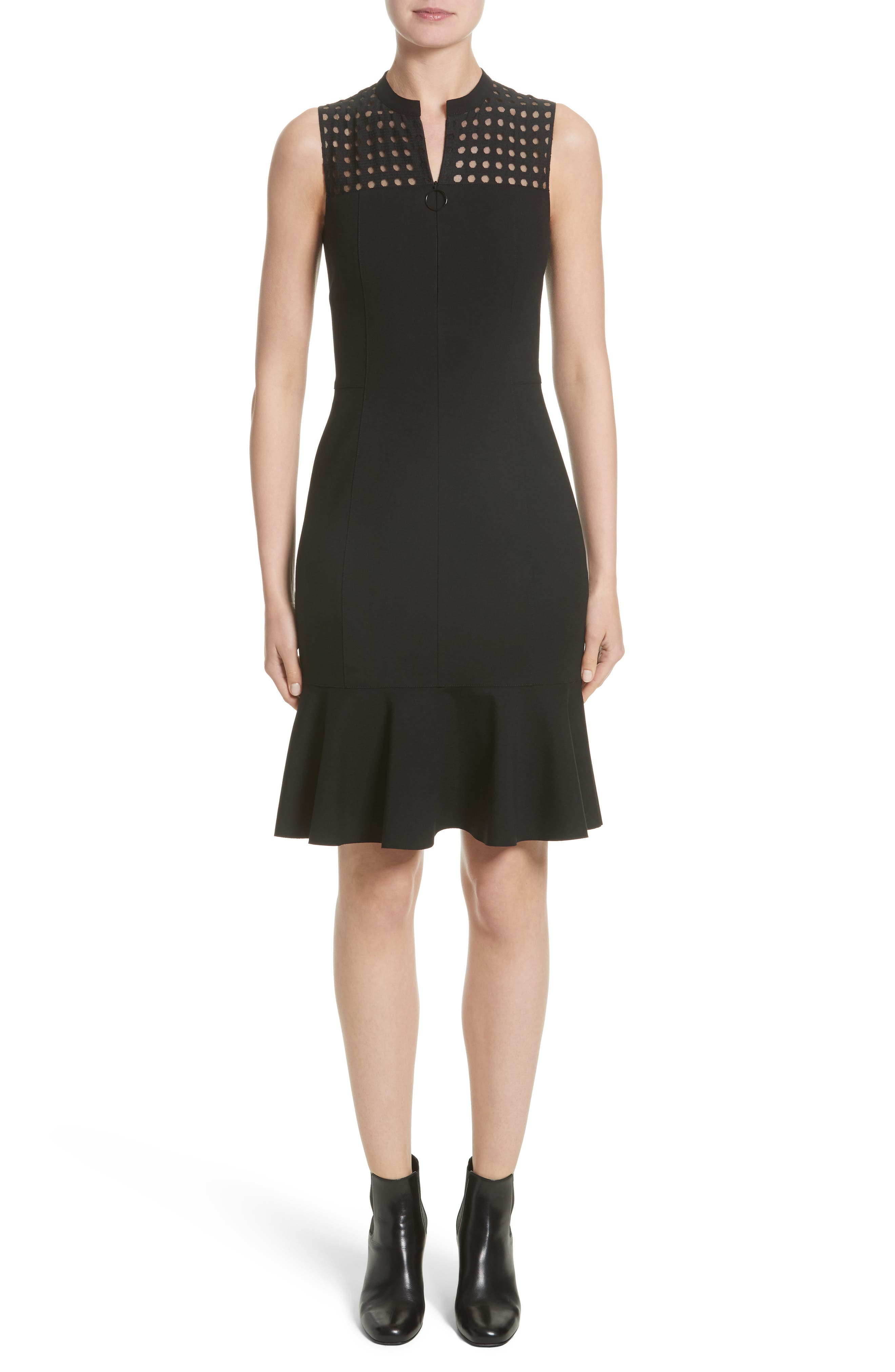 Akris punto Lace Yoke Jersey Dress (Nordstrom Exclusive)