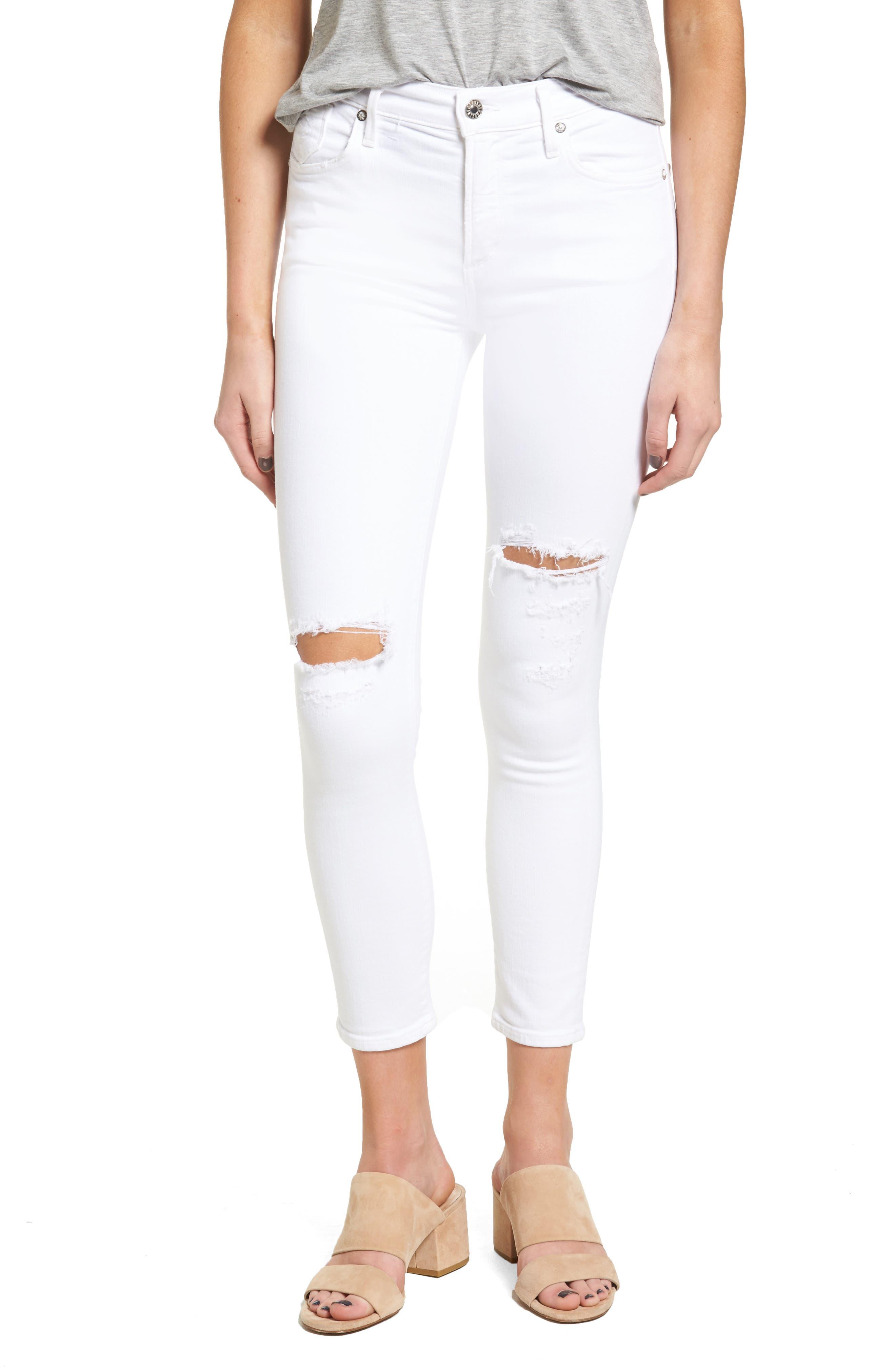 AGOLDE Sophie High Rise Crop Skinny Jeans (Shoreline Destruct)
