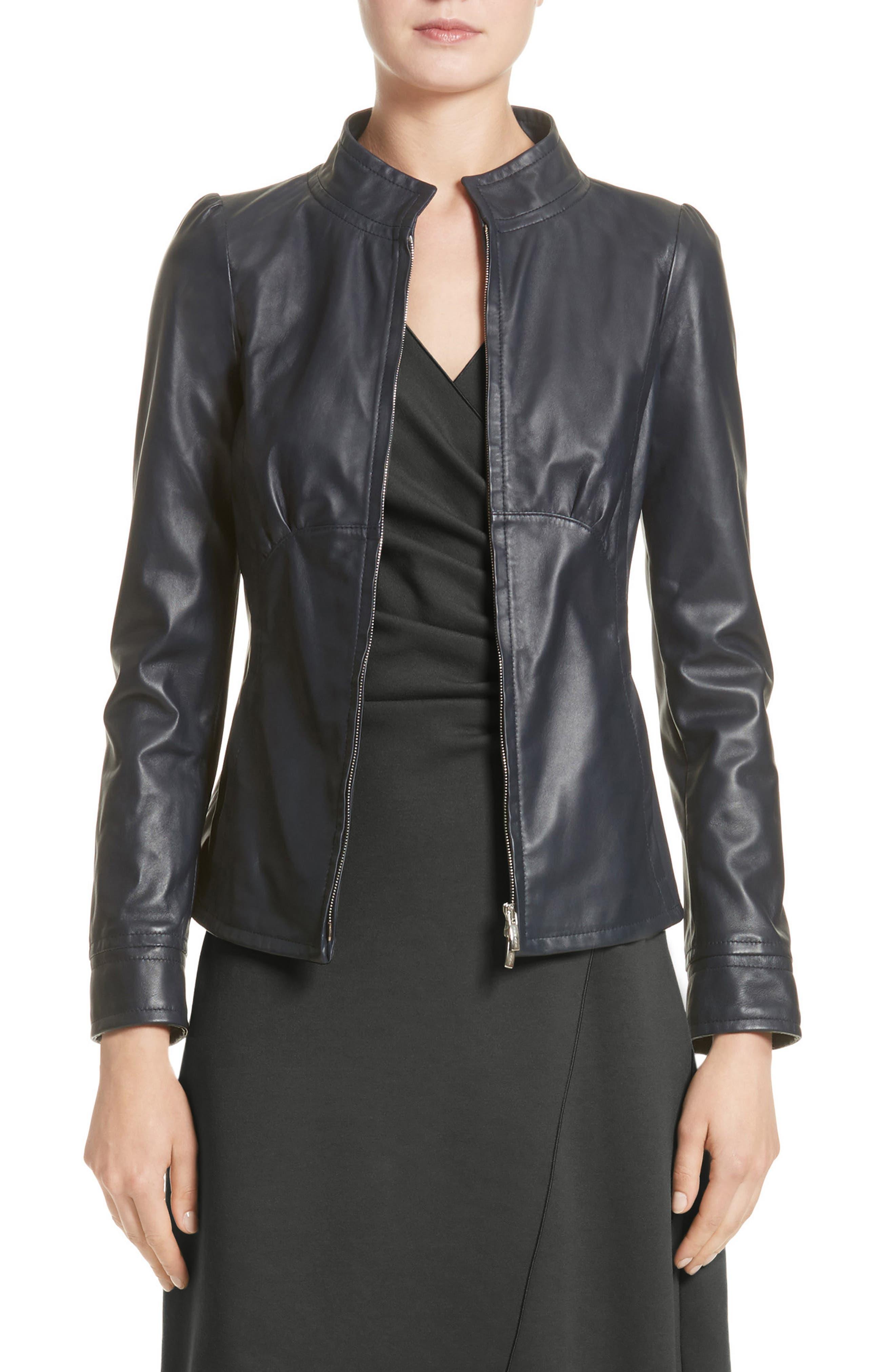 Armani Collezioni Seamed Leather Jacket (Nordstrom Exclusive)
