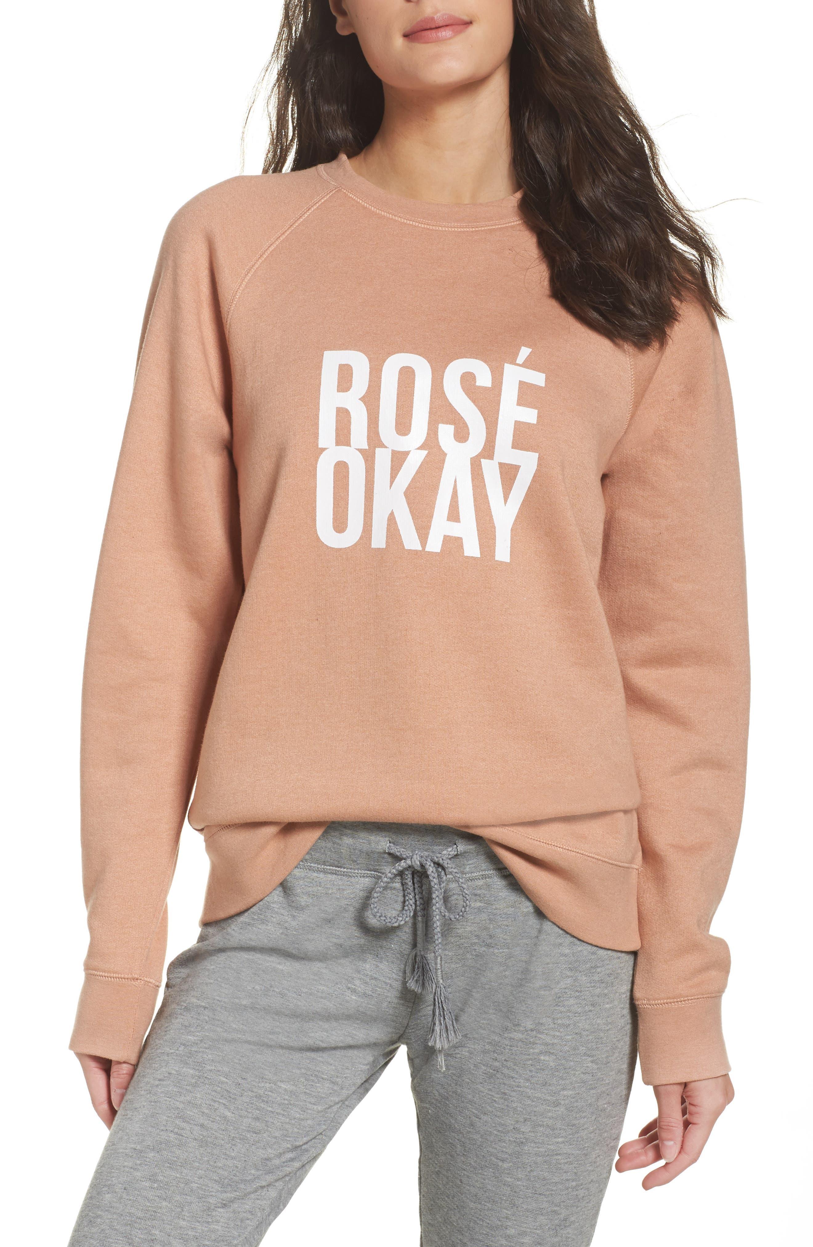 Main Image - BRUNETTE the Label Rosé Okay Sweatshirt