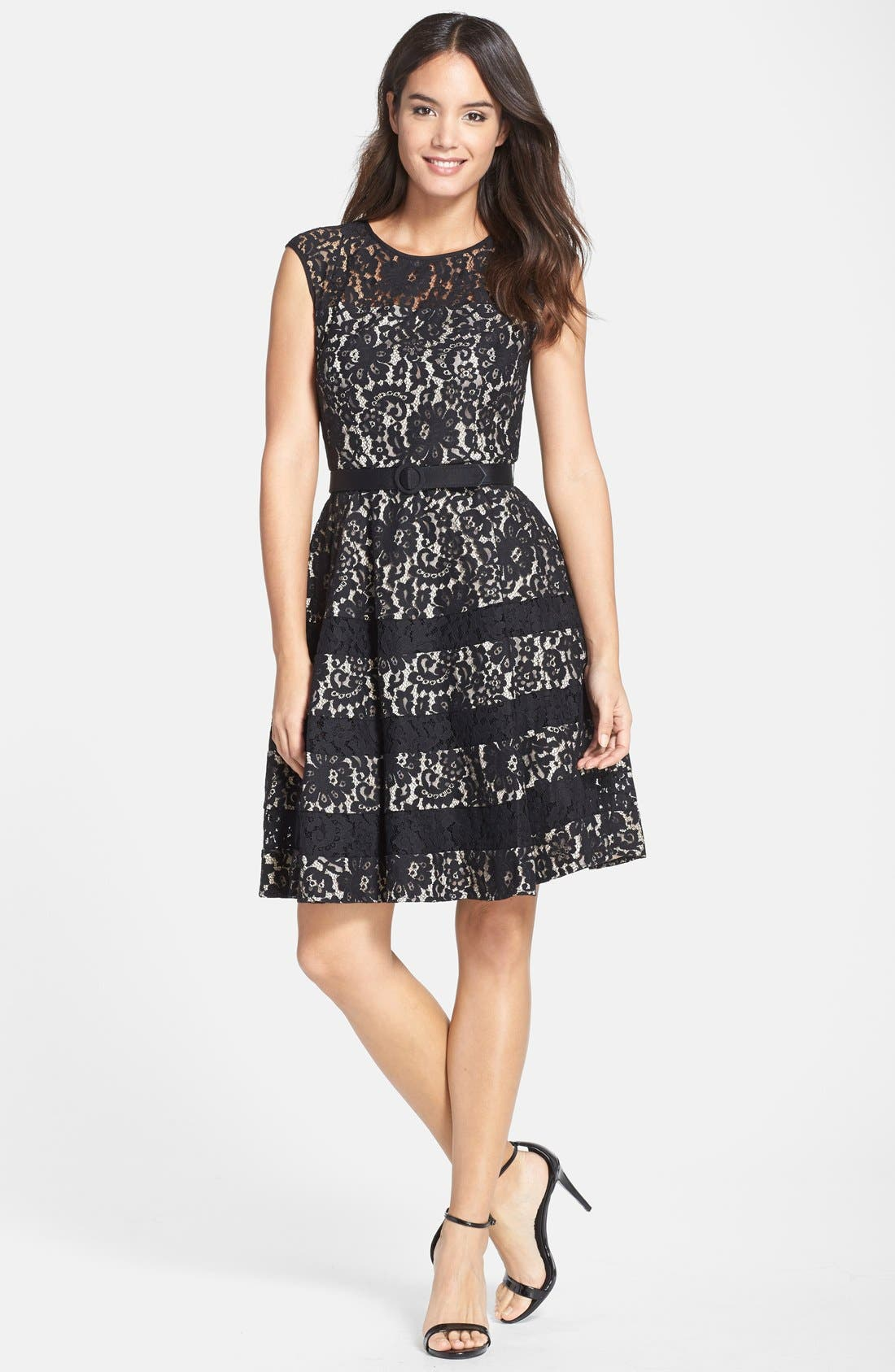 Alternate Image 3  - Eliza J Belted Cap Sleeve Lace Fit & Flare Dress (Regular & Petite)
