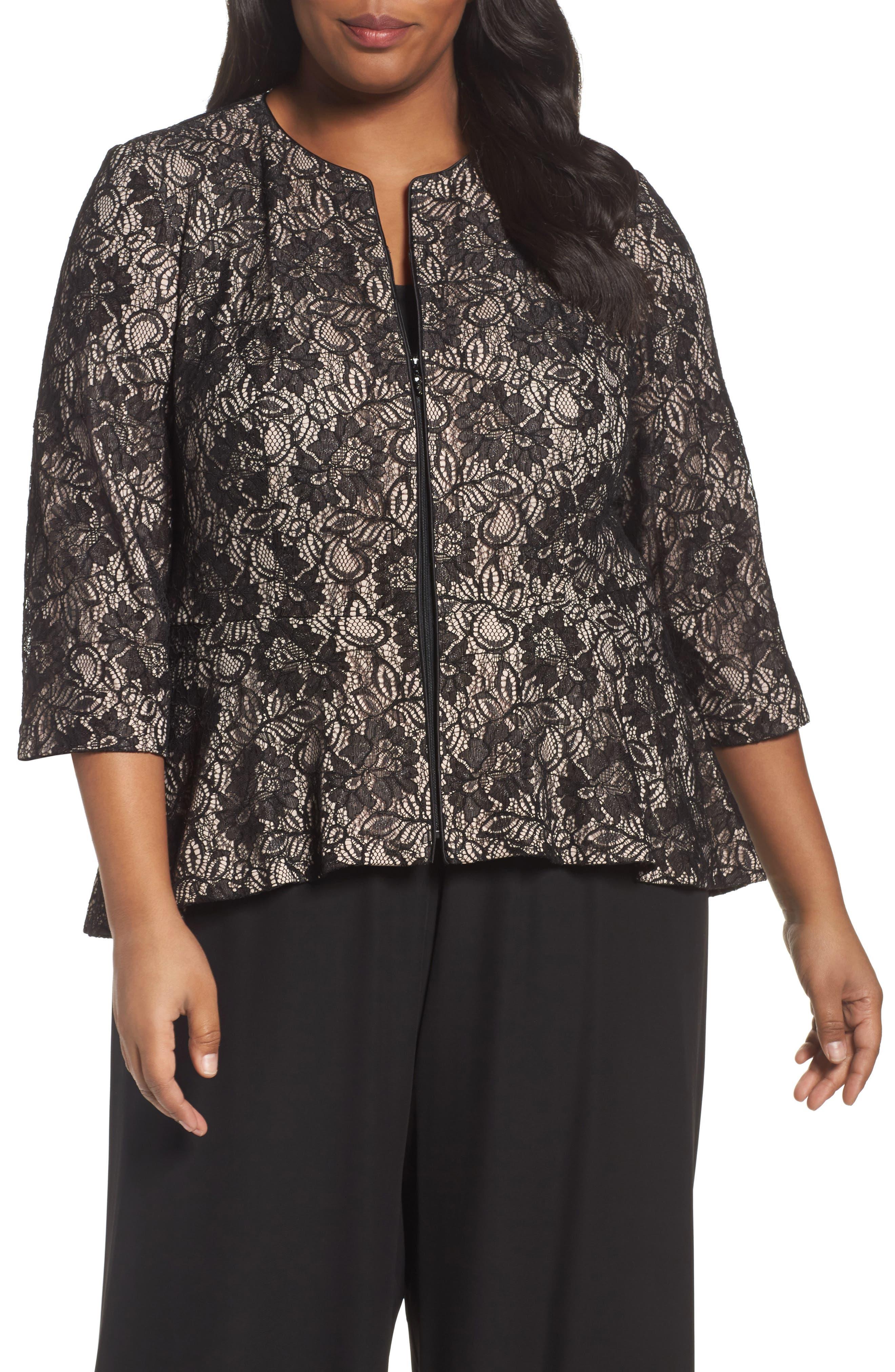 Main Image - Alex Evenings Collarless Metallic Lace Jacket (Plus Size)