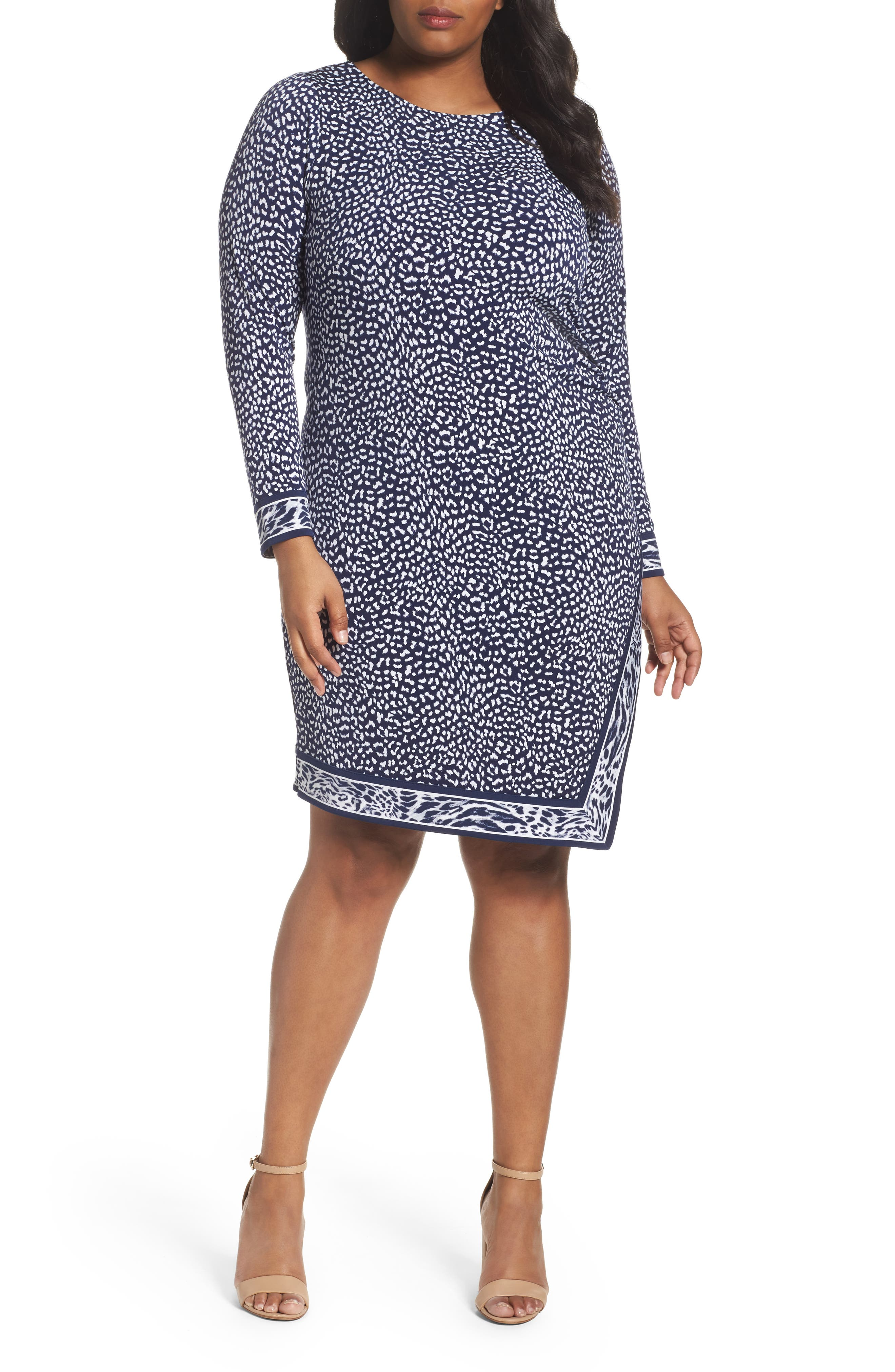 MICHAEL Michael Kors Animal Print Faux Wrap Dress (Plus Size)