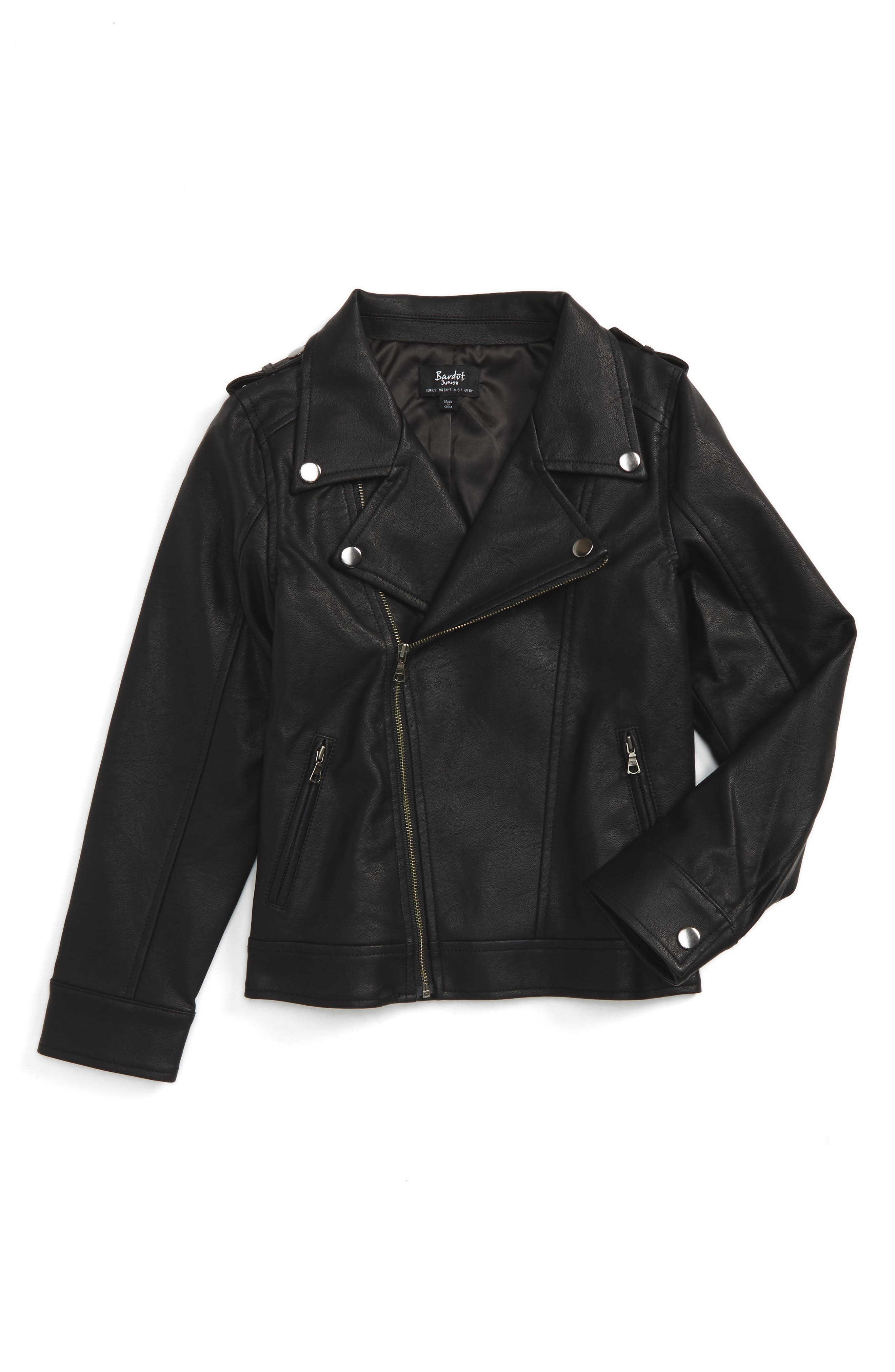 Bardot Junior Faux Leather Moto Jacket (Toddler Boys & Little Boys)