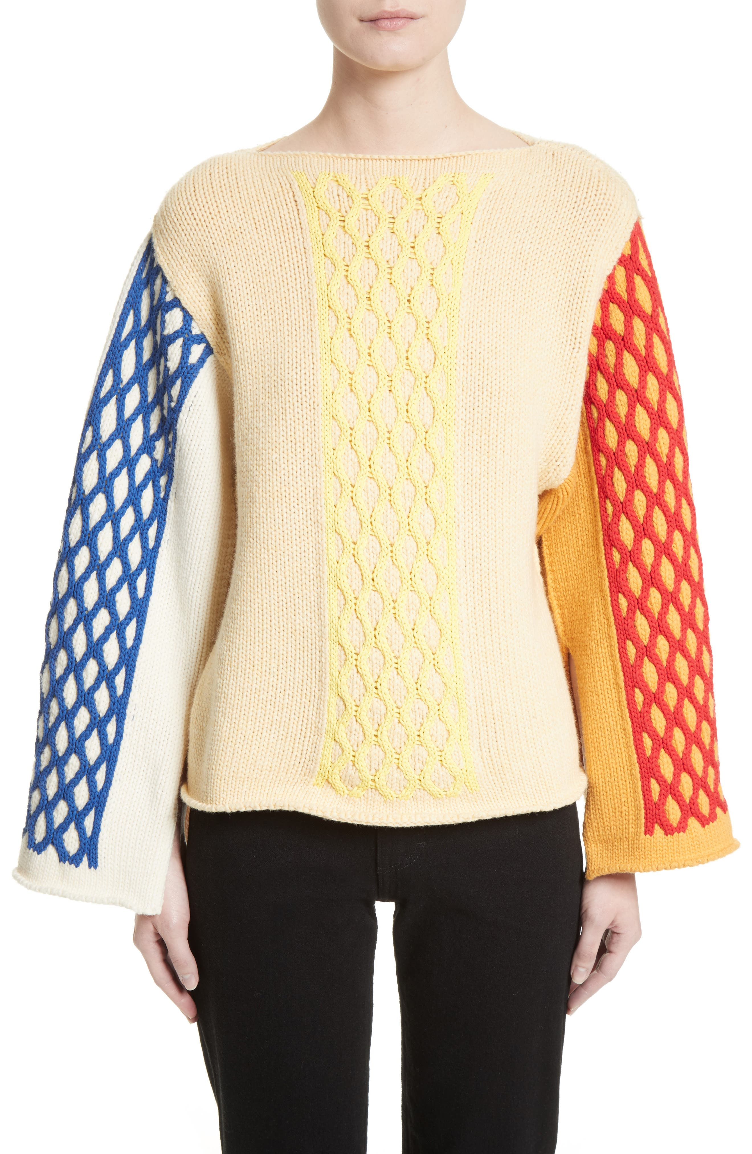 J.W.ANDERSON Multicolor Cable Knit Sweater