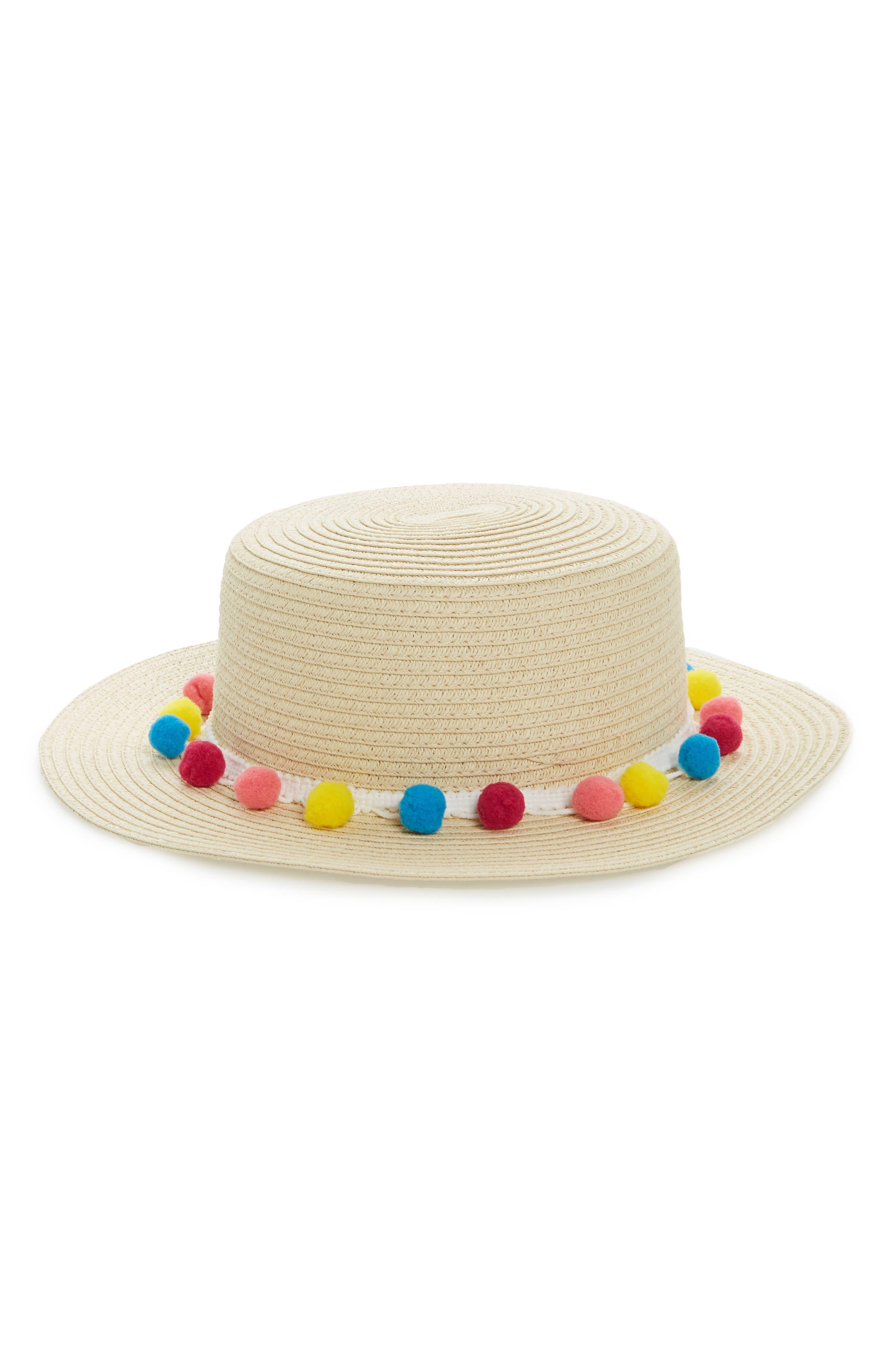 BP. Pom Band Straw Boater Hat