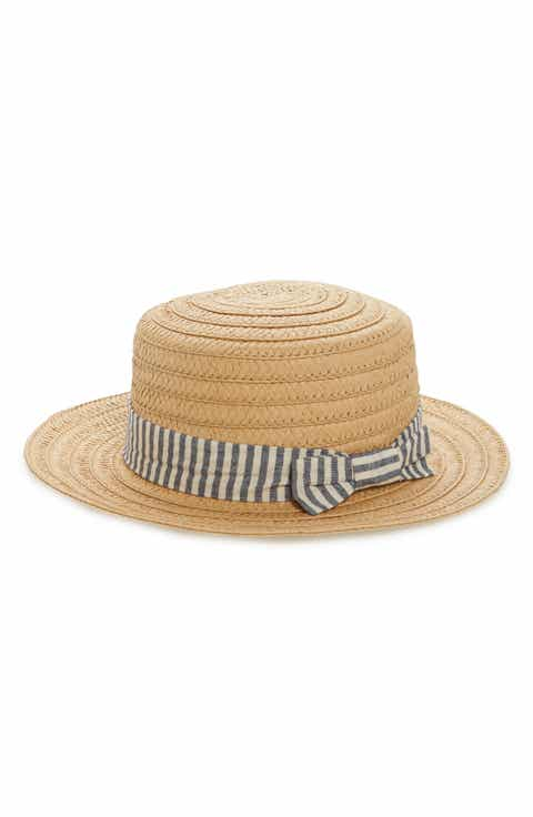 BP. Stripe Band Straw Boater Hat