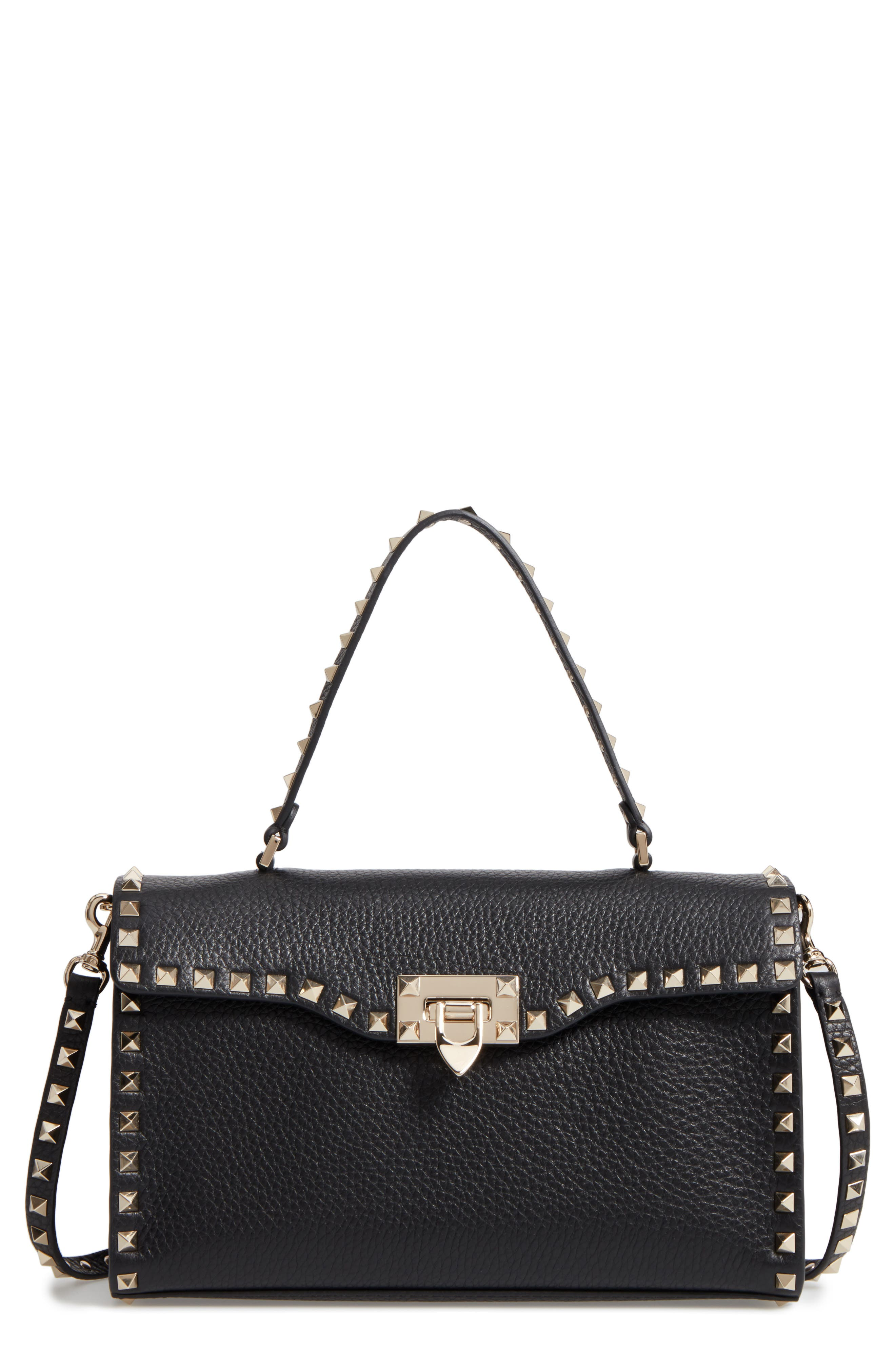 Valentino Rockstud Leather Top Handle Shoulder Bag