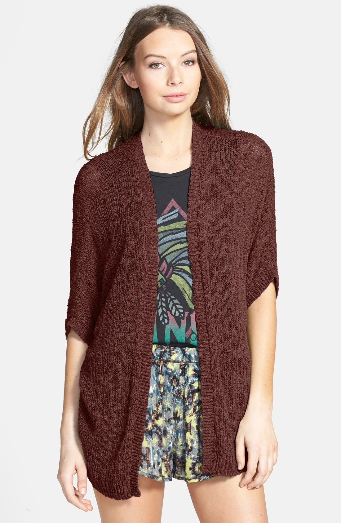 Alternate Image 1 Selected - Sun & Shadow Dolman Sleeve Cardigan (Juniors)